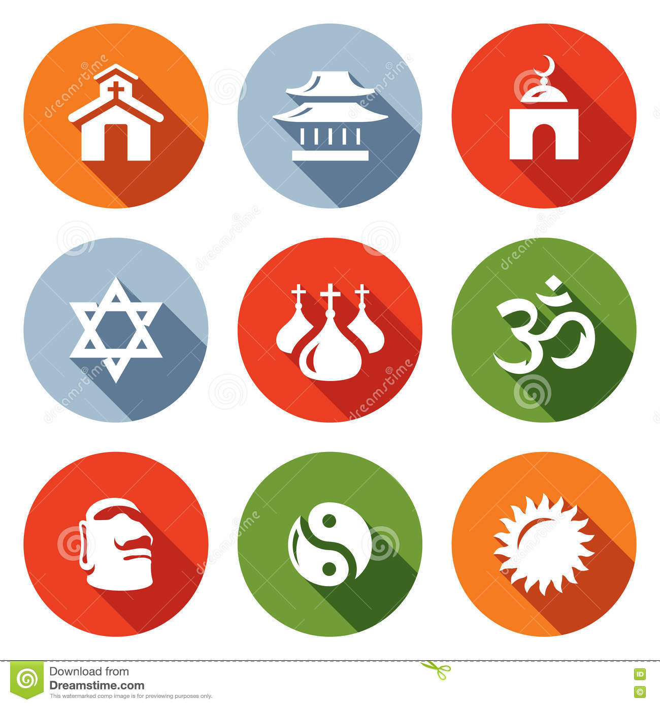 Vector Set Of Religion Icons Catholic Buddhism Islam