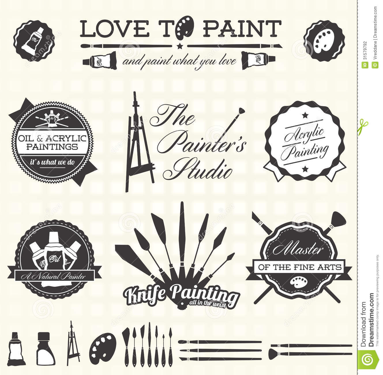 Vector Set Retro Style Painter Labels And Icons Stock