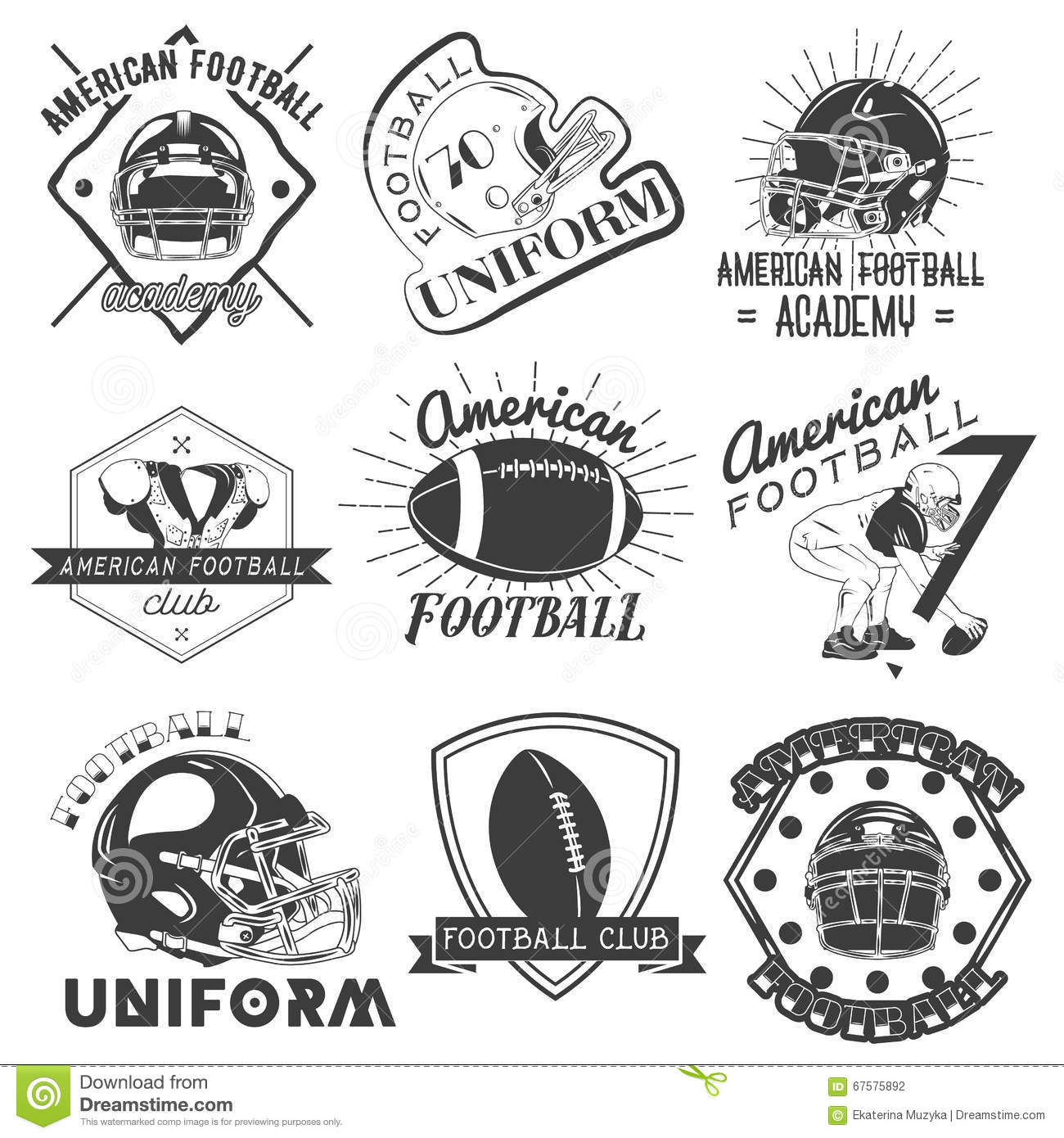 Vector Set Of Rugby And American Football Labels In