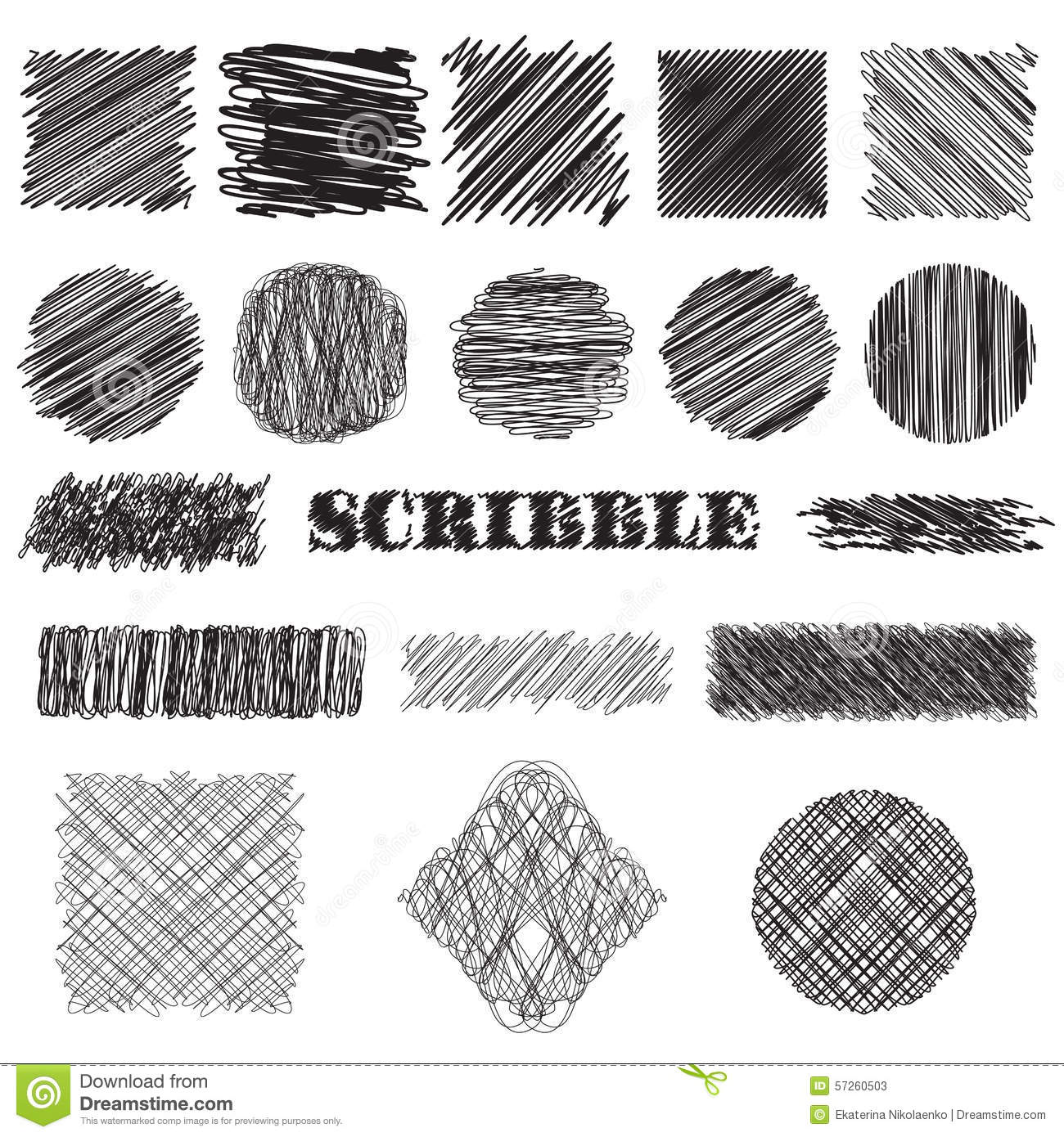 Vector Set Of Scribble Brushes Collection Of Ink Lines
