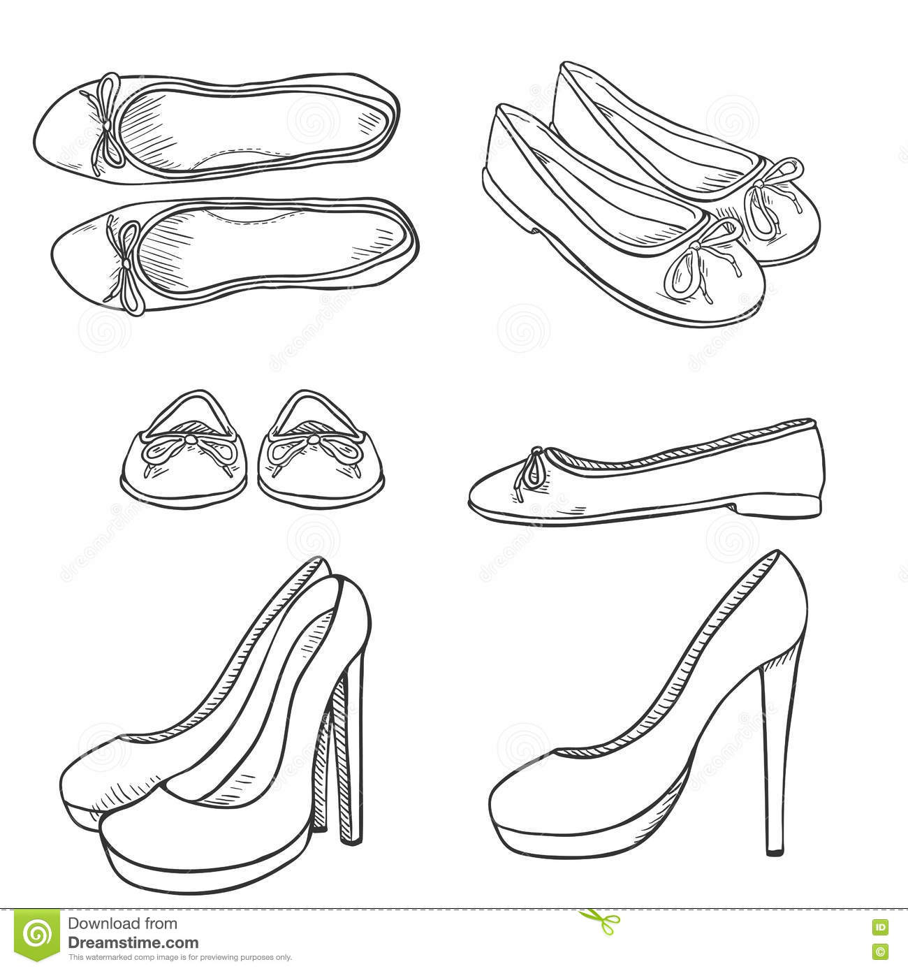 Ballet Shoes Sketch Royalty Free Cartoon