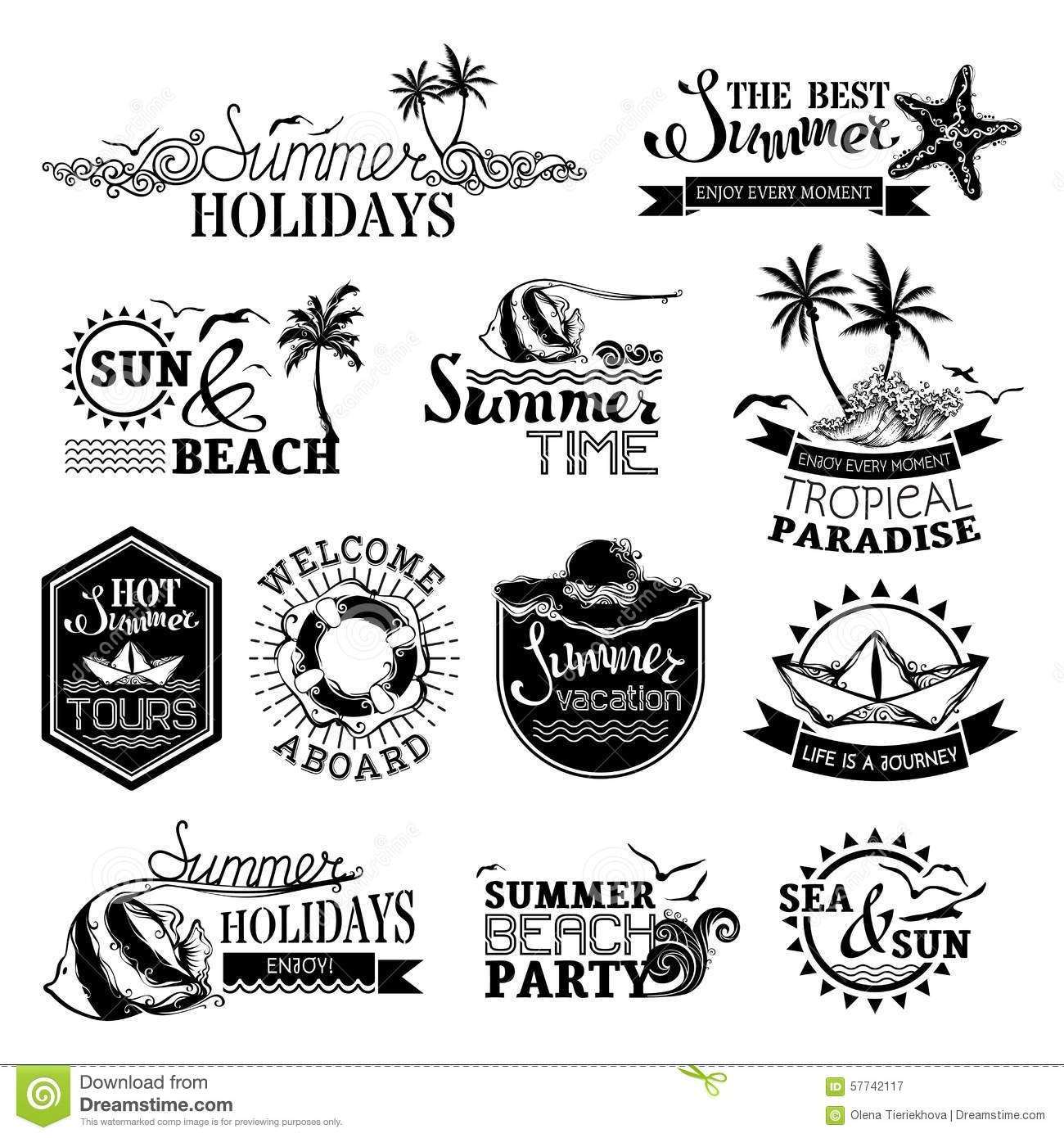 Vector Set Of Summer And Travel Designs Stock Vector