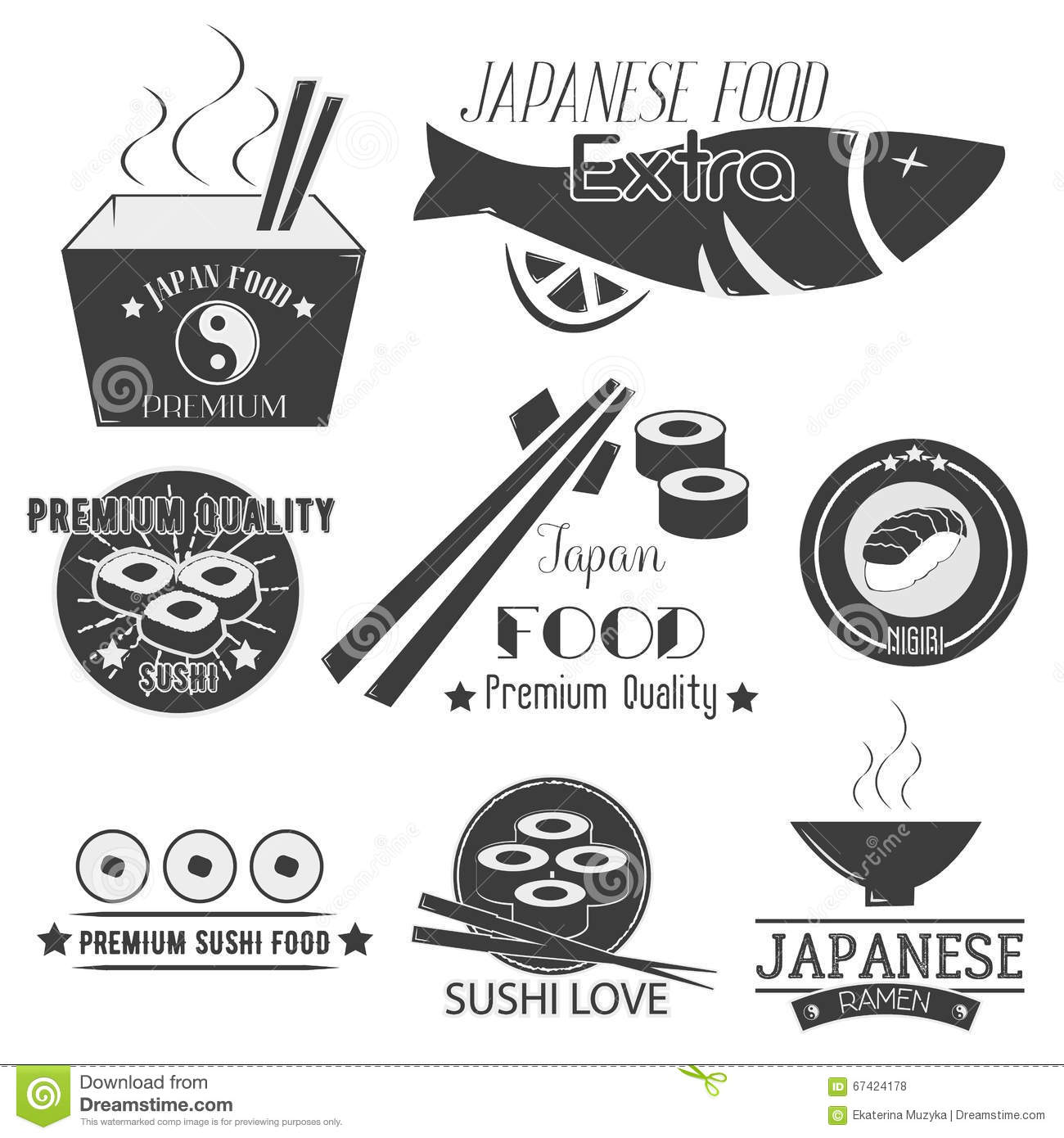 Vector Set Of Sushi Labels Japanese Food Restaurant Logo