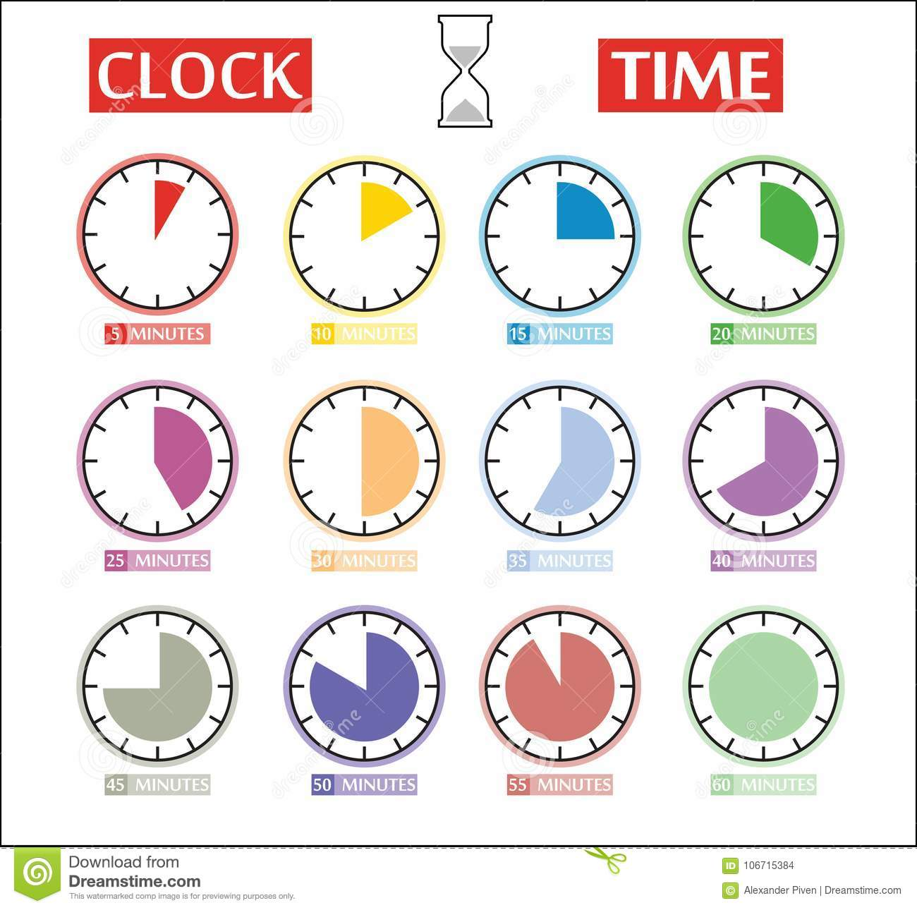 Vector Set Of Timer Icons Different Time Interval Icons