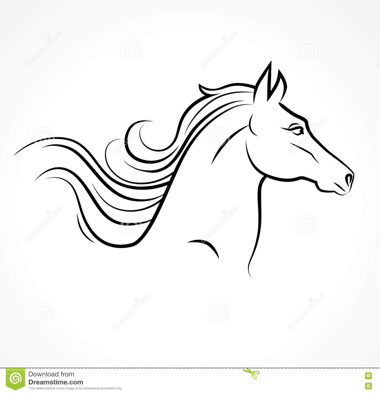 Vector Silhouette Of Horse Head Stock Illustration