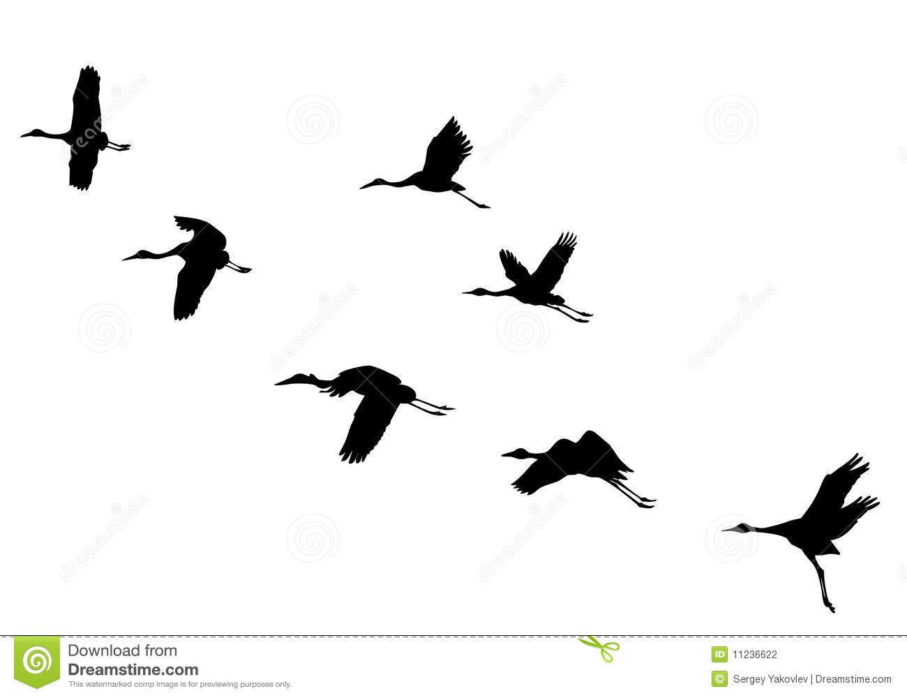 Vector Silhouettes Flying Cranes Stock Vector