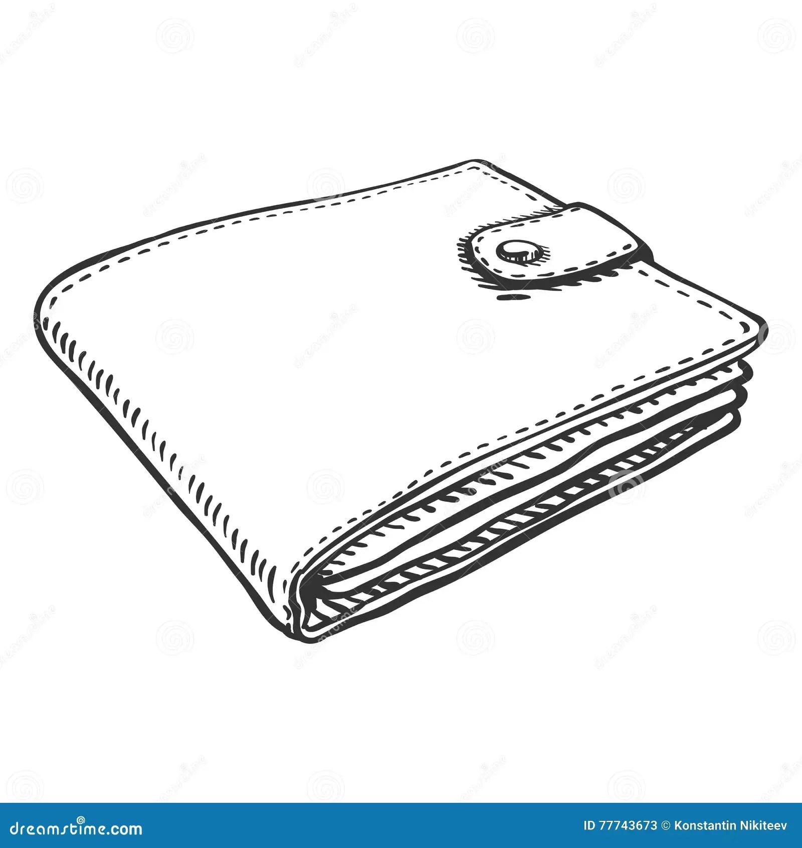 Vector Single Sketch Leather Wallet Stock Illustration