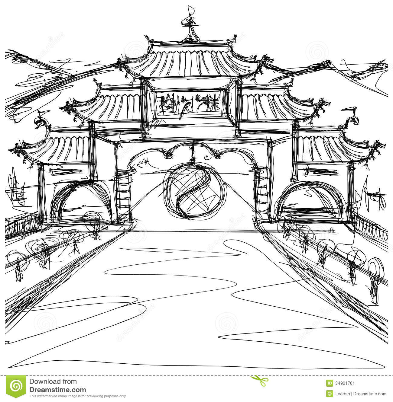 Vector Sketch Background With China Stock Vector