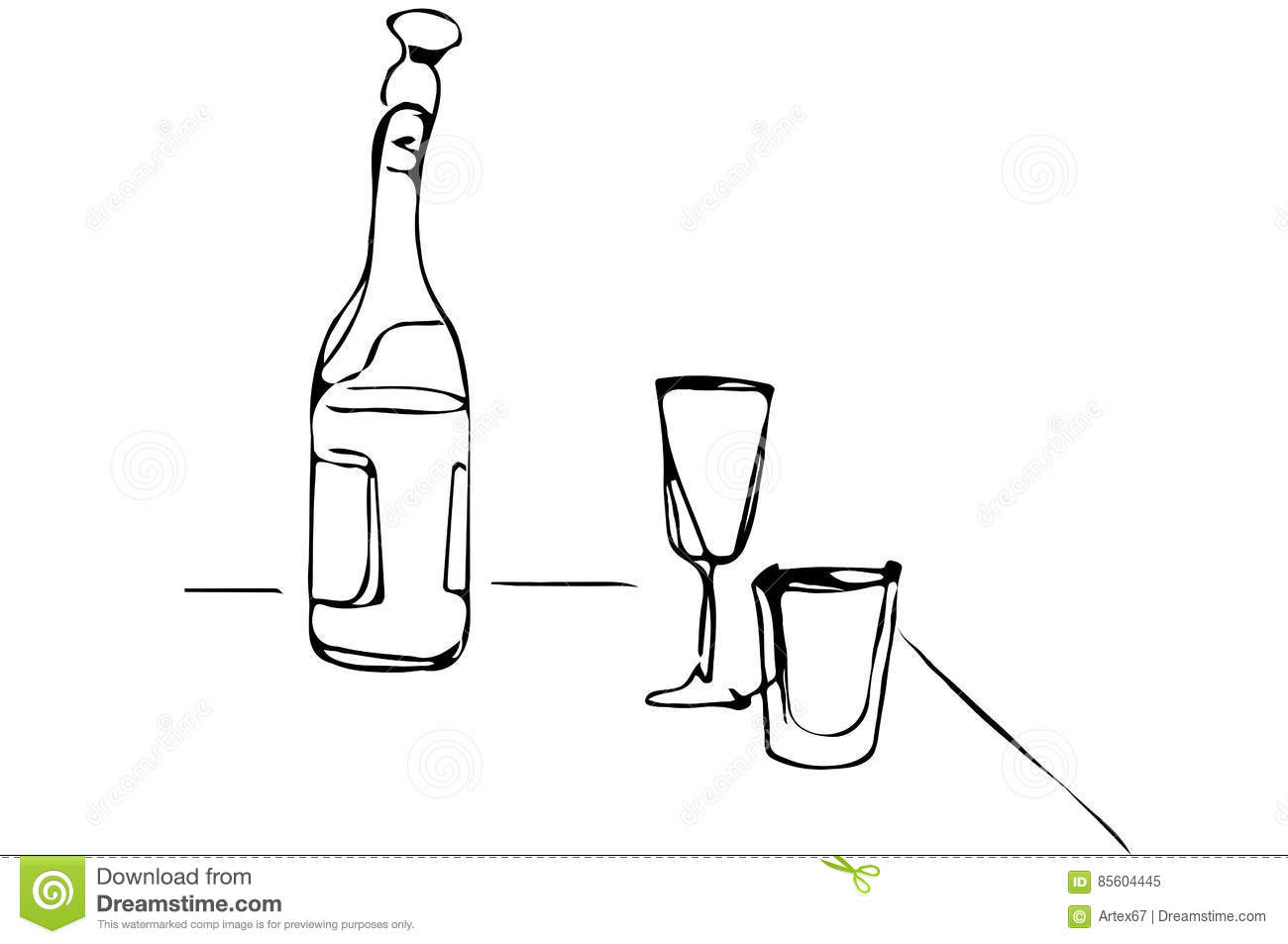Vector Sketch Of A Champagne Bottle And Glasses Of Wine On