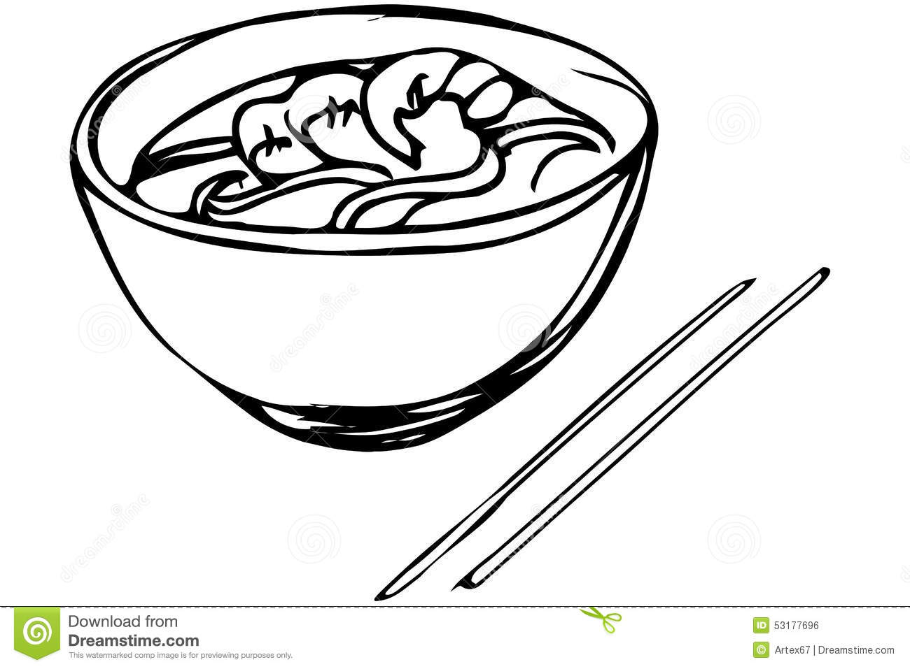 Vector Sketch Of Chinese Noodles With Shrimp And