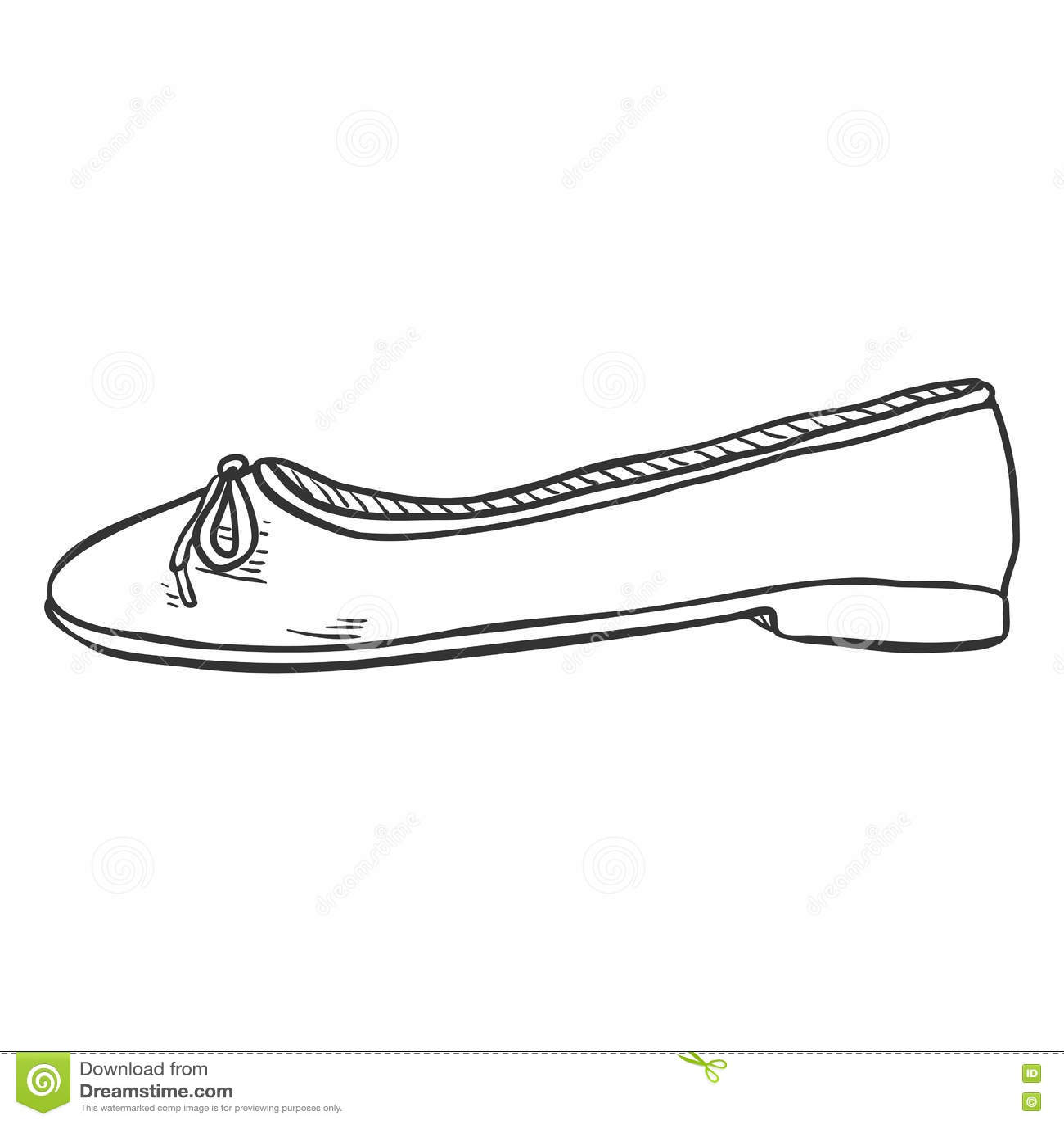 Ballet Shoes Sketch Royalty Free Cartoon
