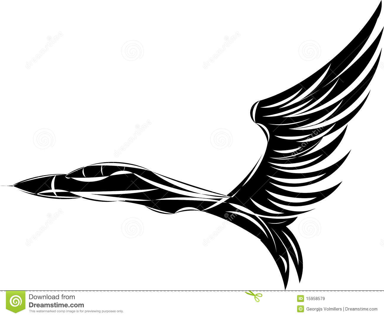Vector Sketch Of Jet Fighter With Eagle Wings Stock