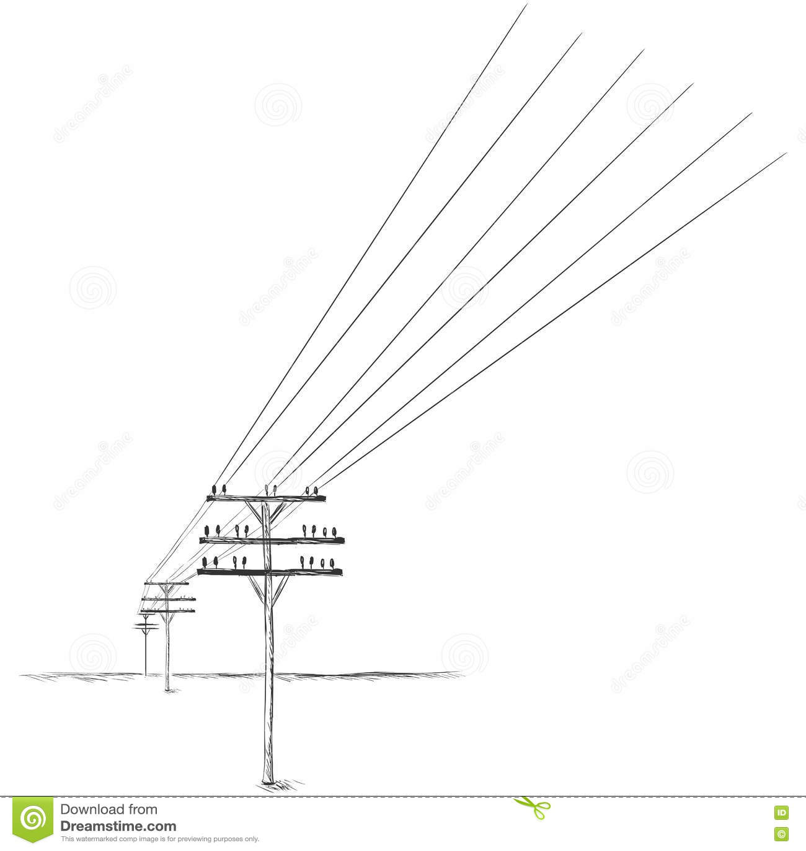Vector Sketch Power Line Stock Illustration Illustration
