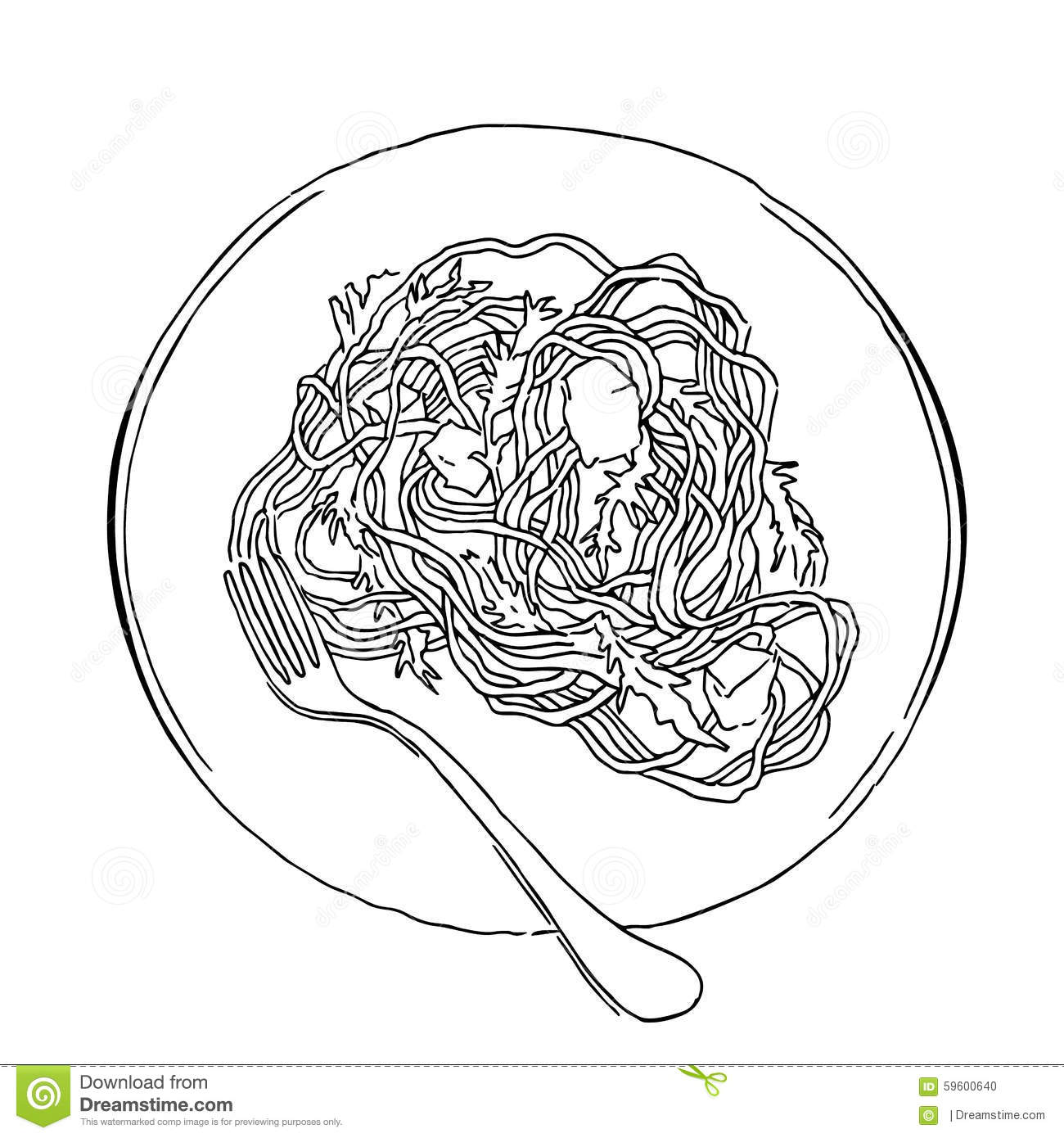 Vector Sketch Of Spaghetti Plate On White Stock