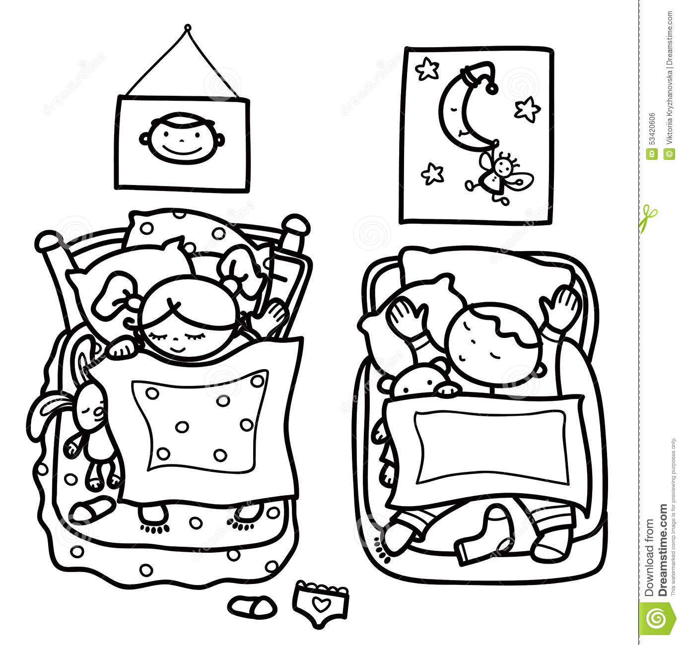 Vector Sleeping Cute Kids Stock Vector Illustration Of Character