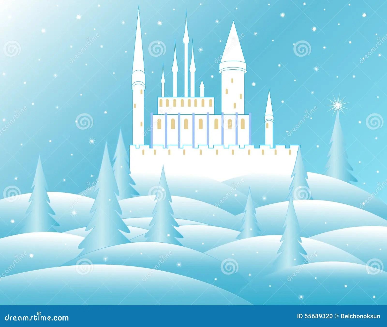 Vector Snow Queens Castle In Frozen Forest Stock Vector