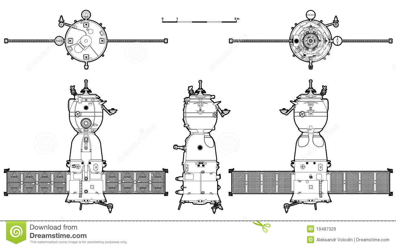 Vector Spaceship Royalty Free Stock Images