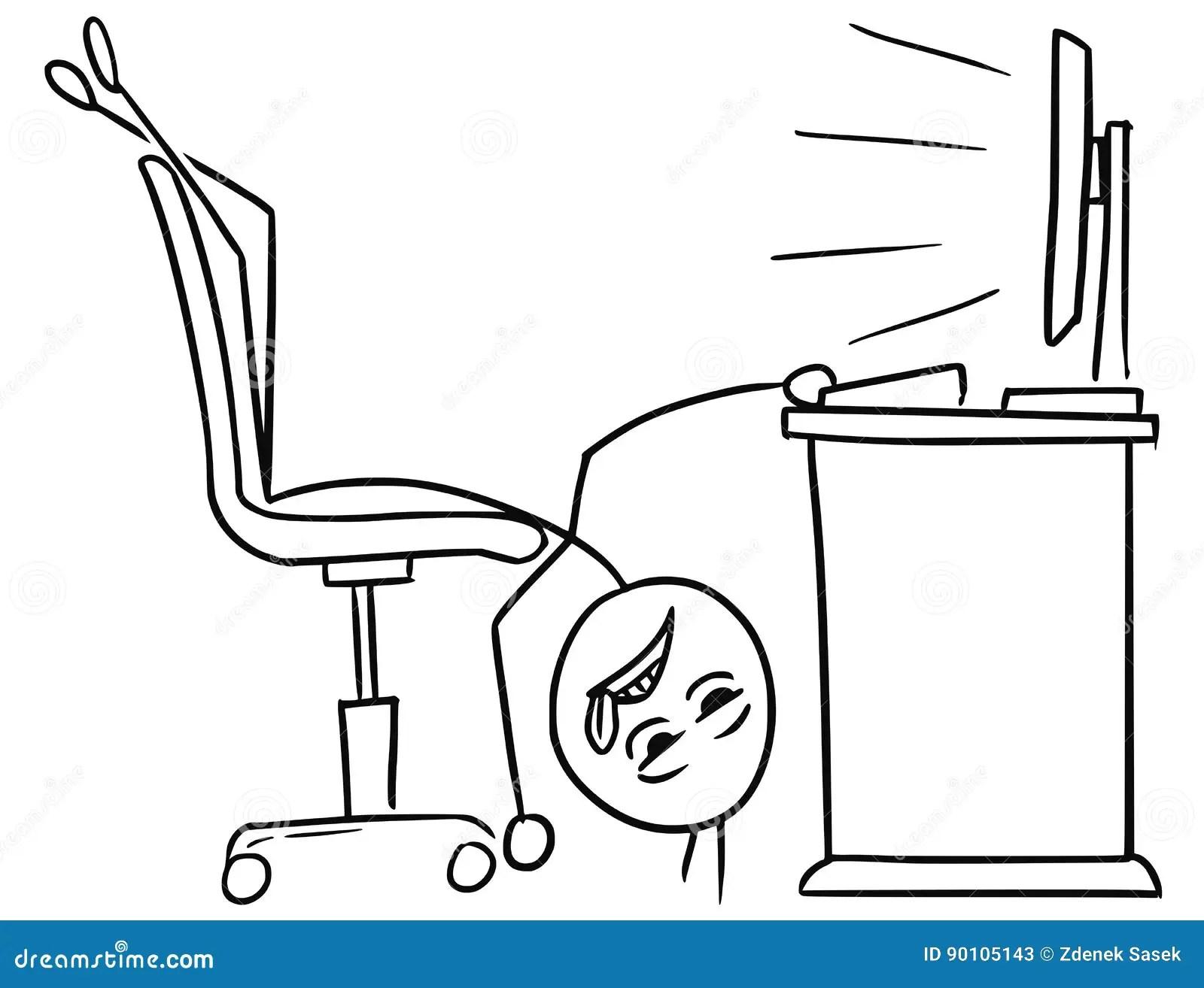 Vector Stick Man Cartoon Of Man Lying On The Office Chair