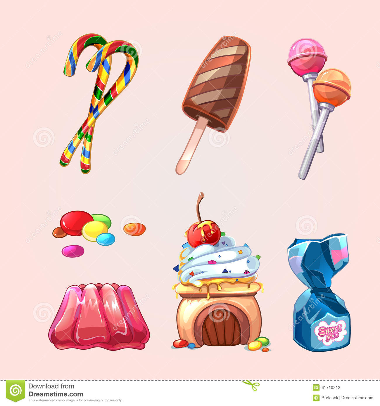 Vector Sweets And Cookies Set In Cartoon Style Stock