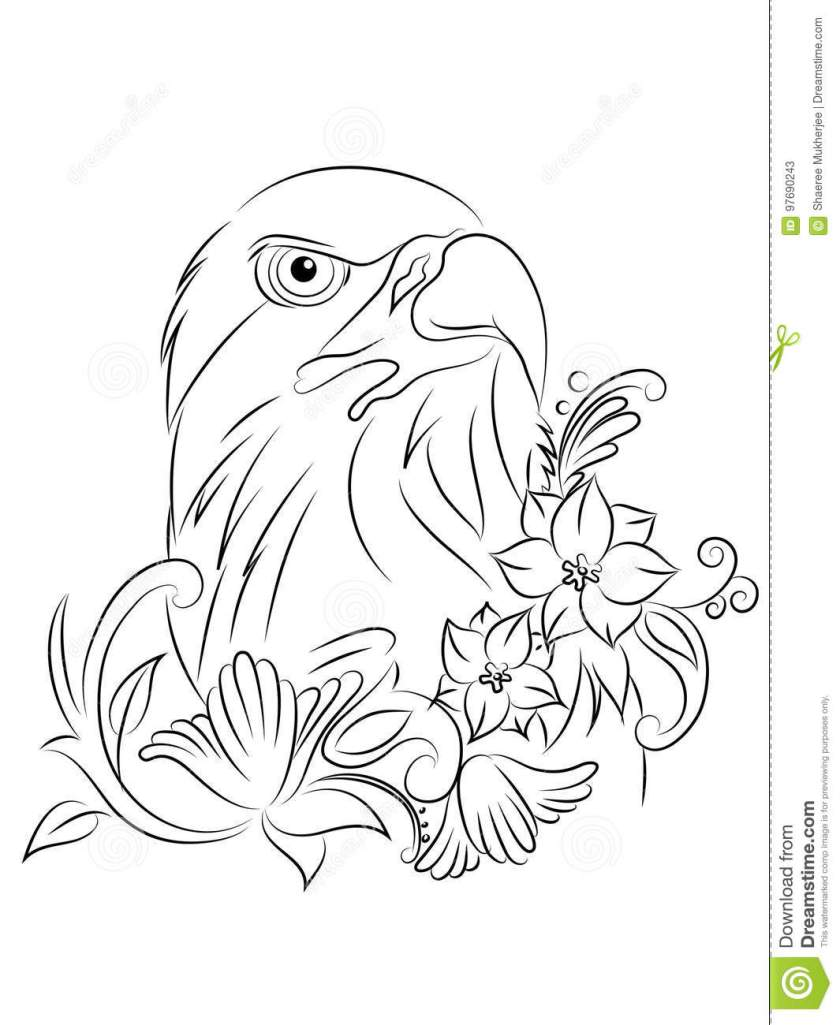 vector tattoo eagle coloring page stock illustration