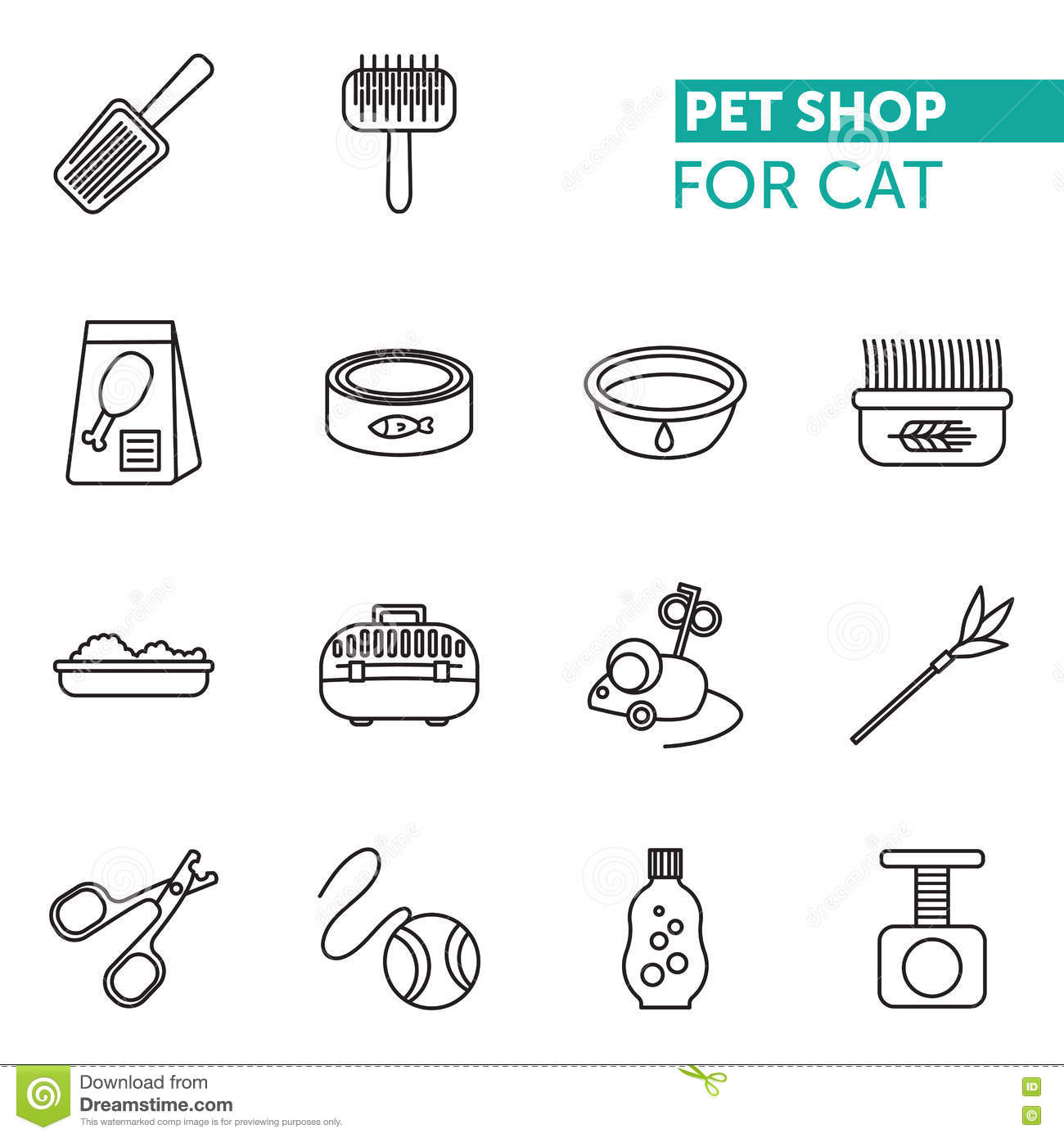 Vector Thin Line Icons Set Pet Shop Fot Cat Stock Vector