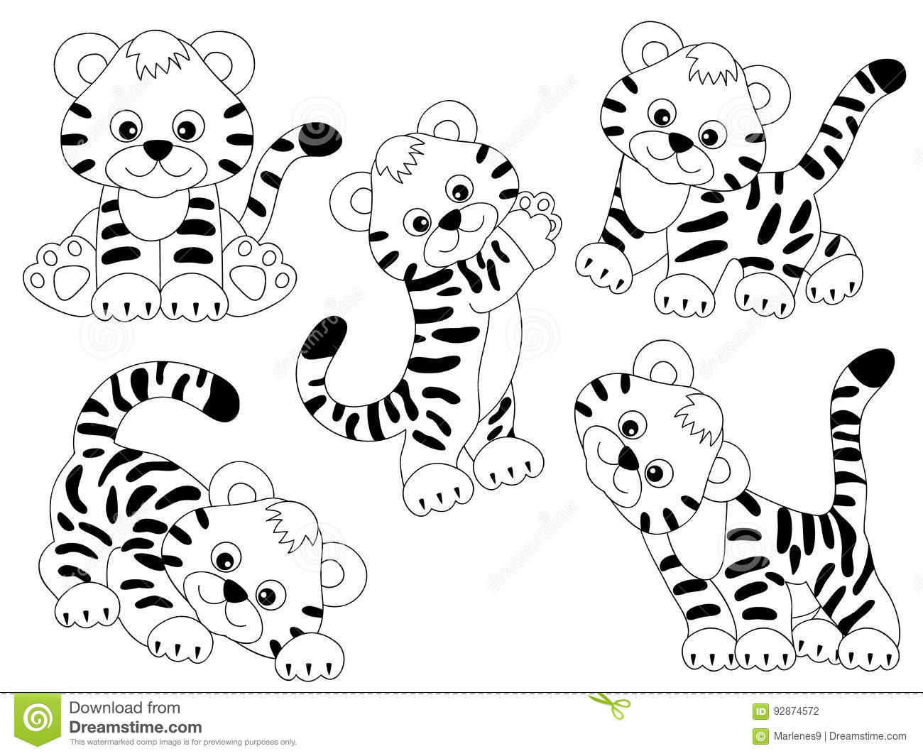 Vector Tigers Set Stock Vector Illustration Of Striped