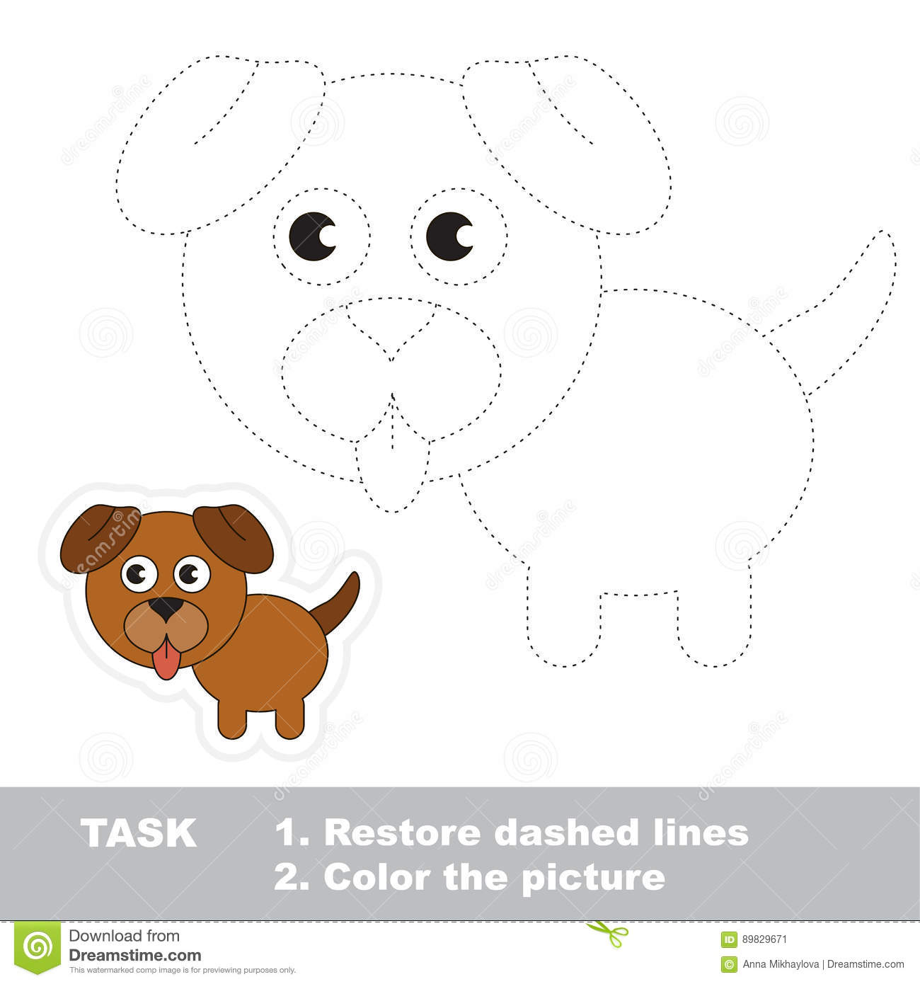 Vector Trace Educational Game For Preschool Kids Stock