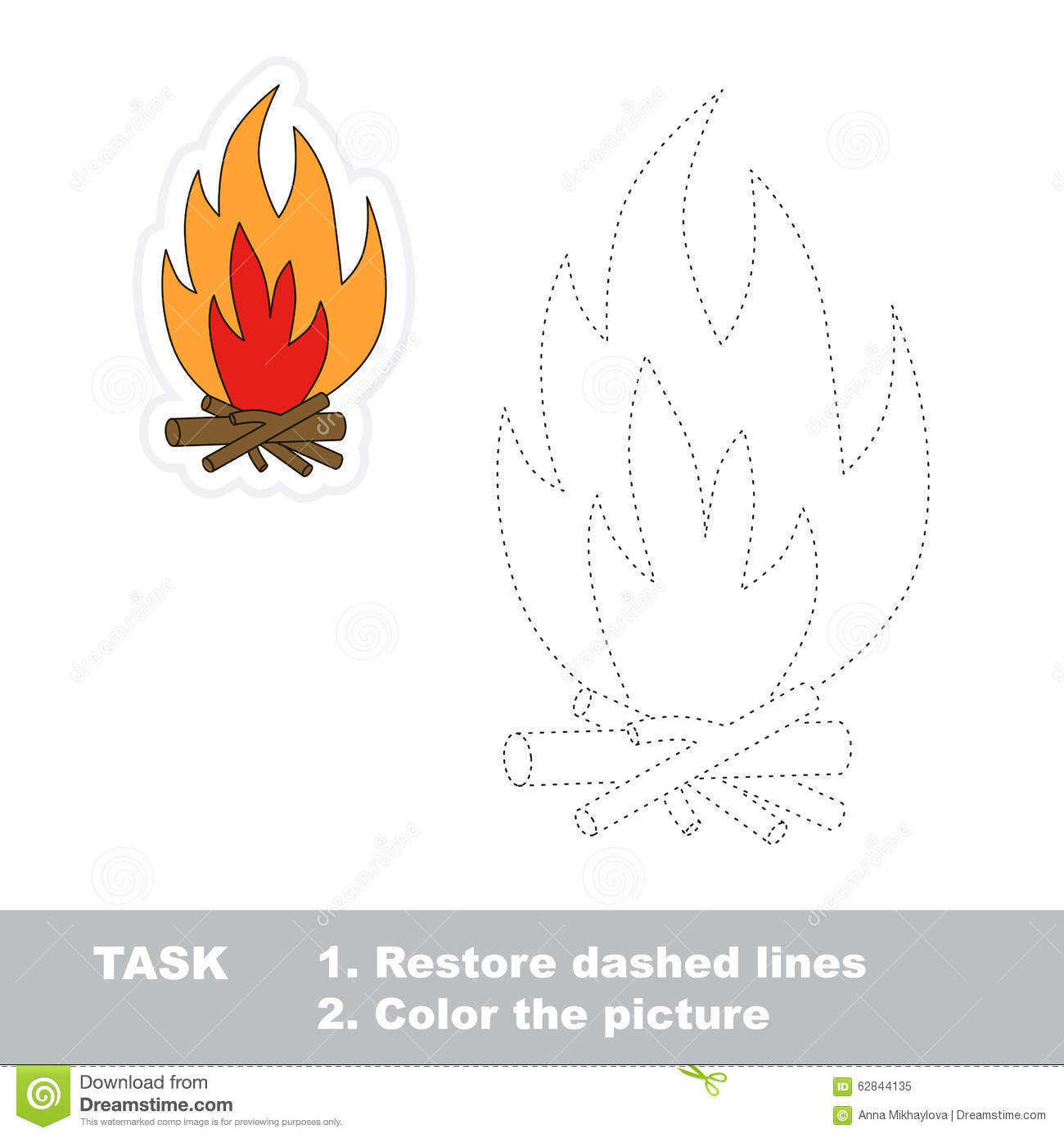 Vector Trace Game Bonfire To Be Traced Stock Vector