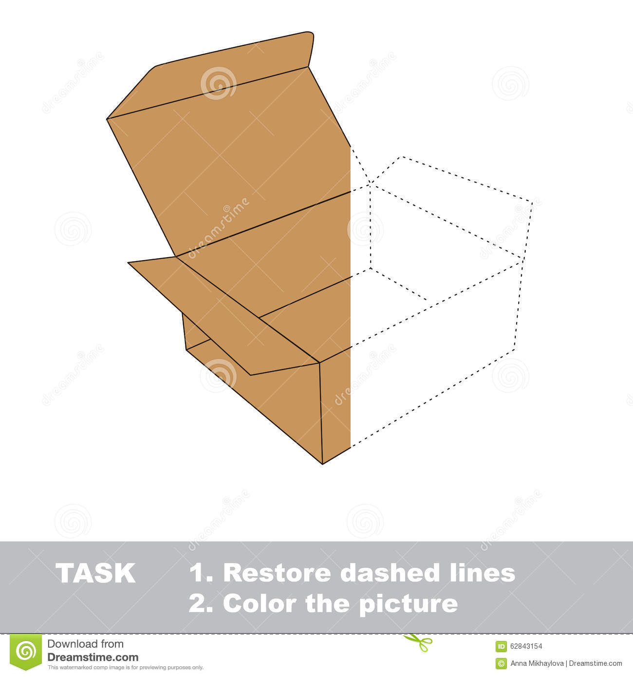 Vector Trace Game Brown Opened Empty Box To Be Colored