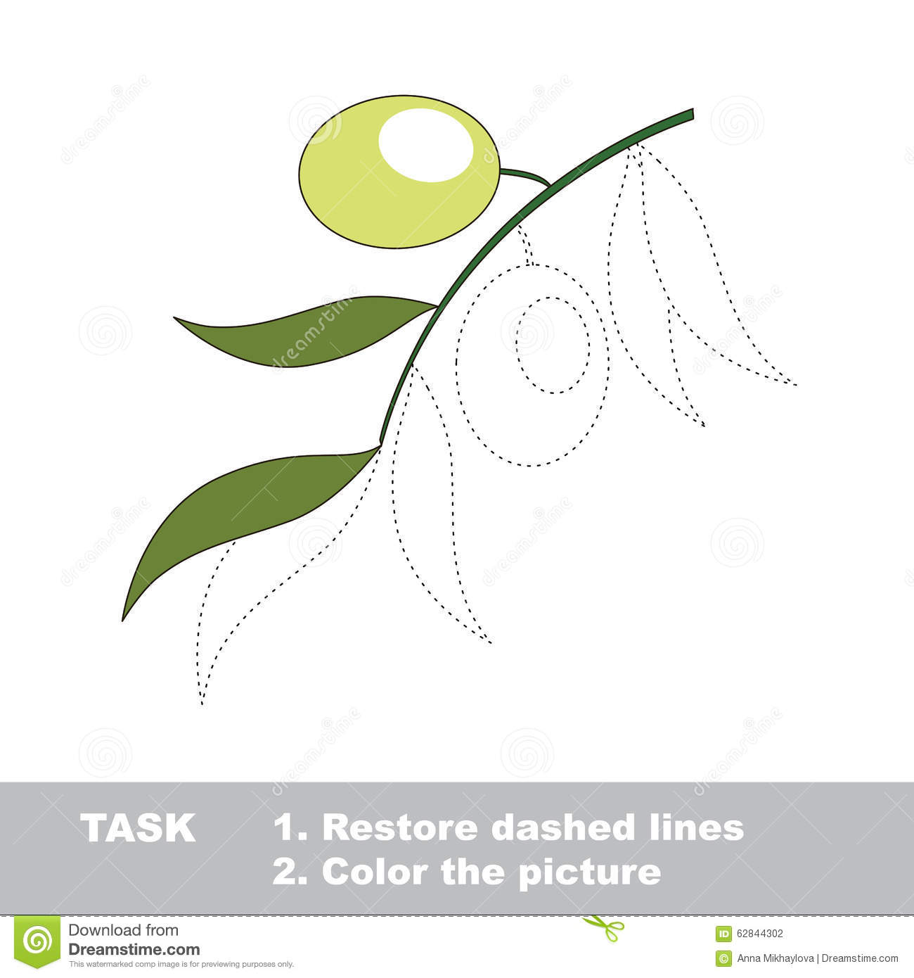 Vector Trace Game Green Olive To Be Colored Stock Vector