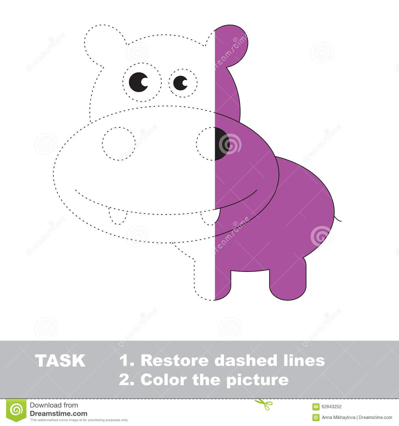 Vector Trace Game Hippo To Be Colored Stock Vector