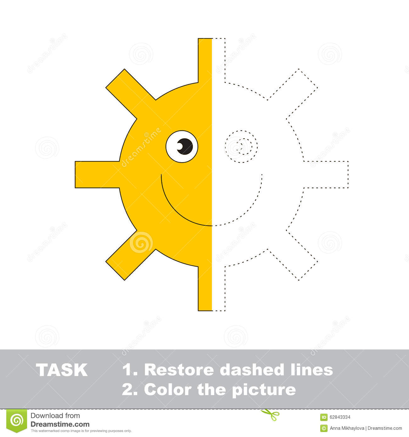 Vector Trace Game Sun To Be Colored Stock Vector