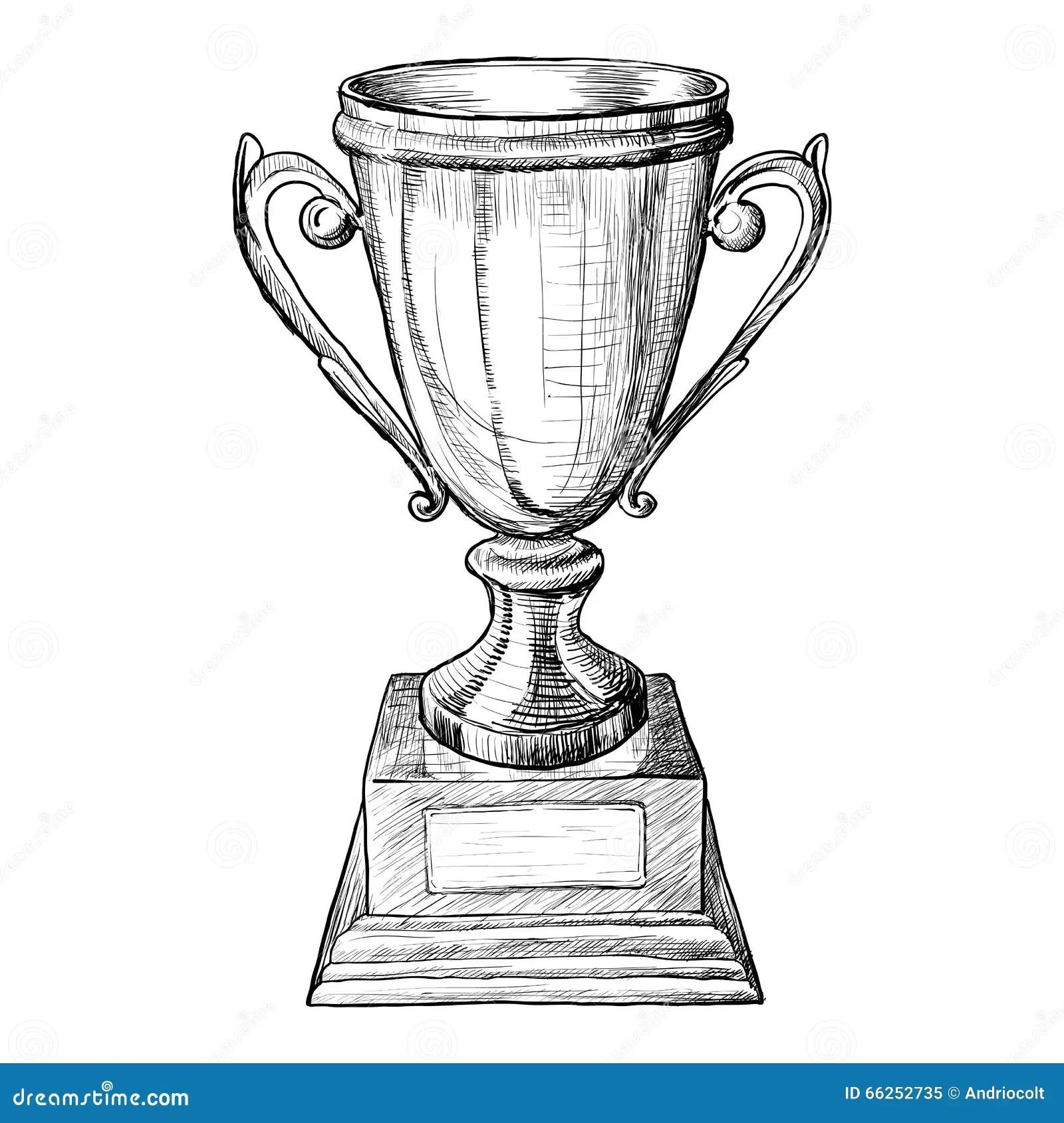 Vector Trophy Hand Draw Sketch Stock Vector