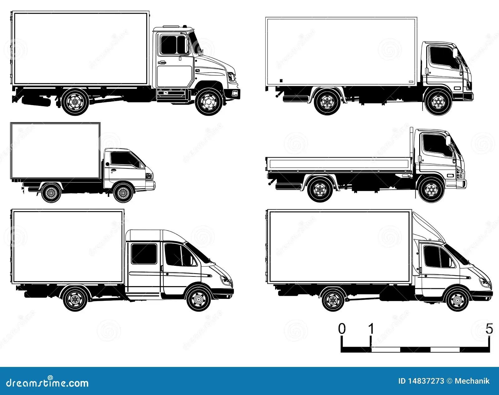 Vector Trucks Set Stock Vector Illustration Of Long