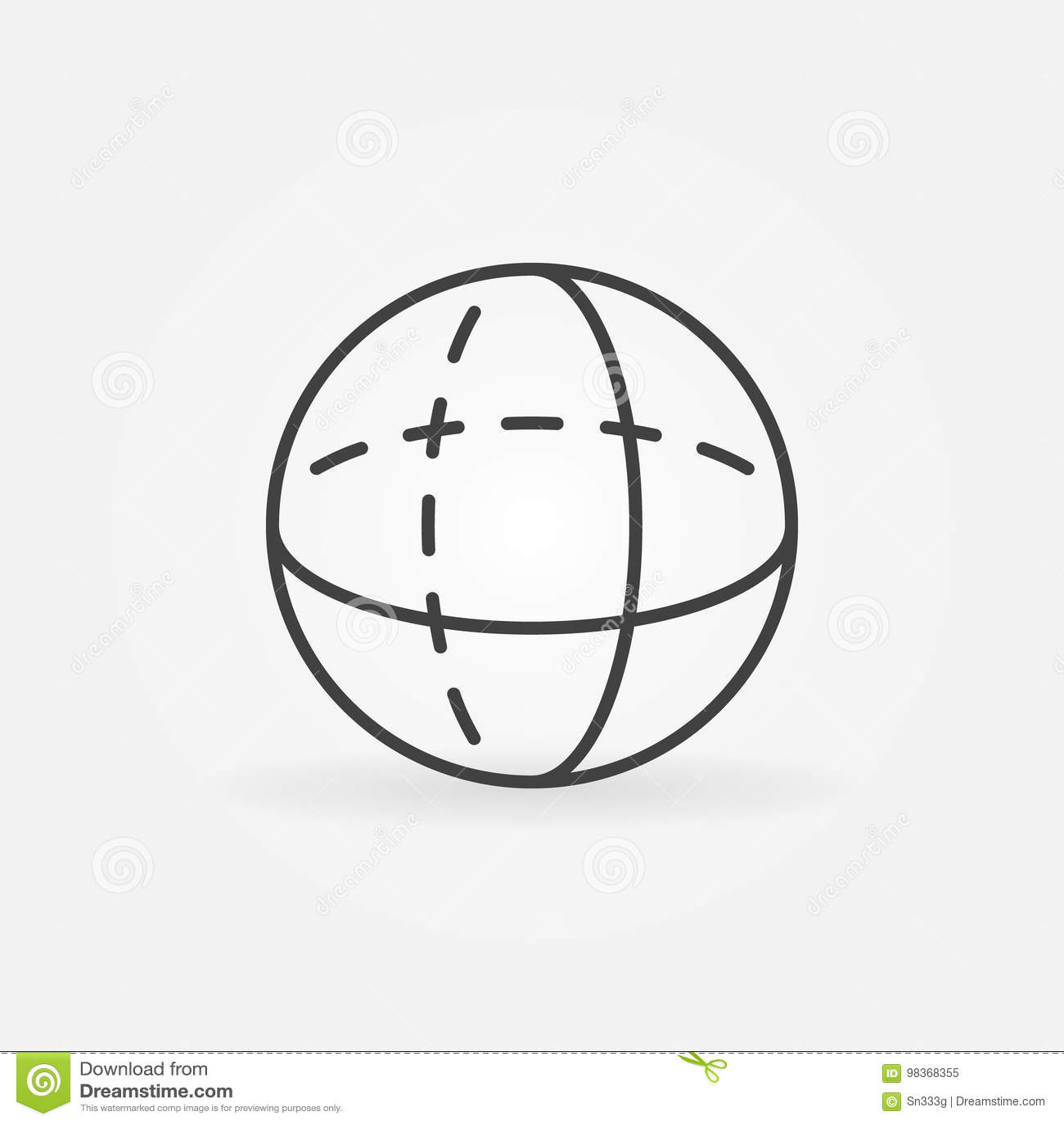 Vector Volume Sphere Outline Icon Stock Vector
