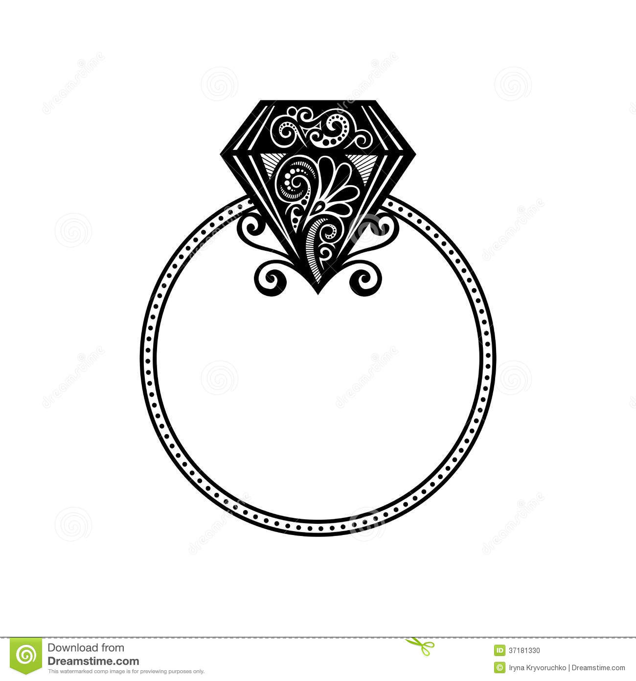 Vector Wedding Ring With Diamond Stock Vector