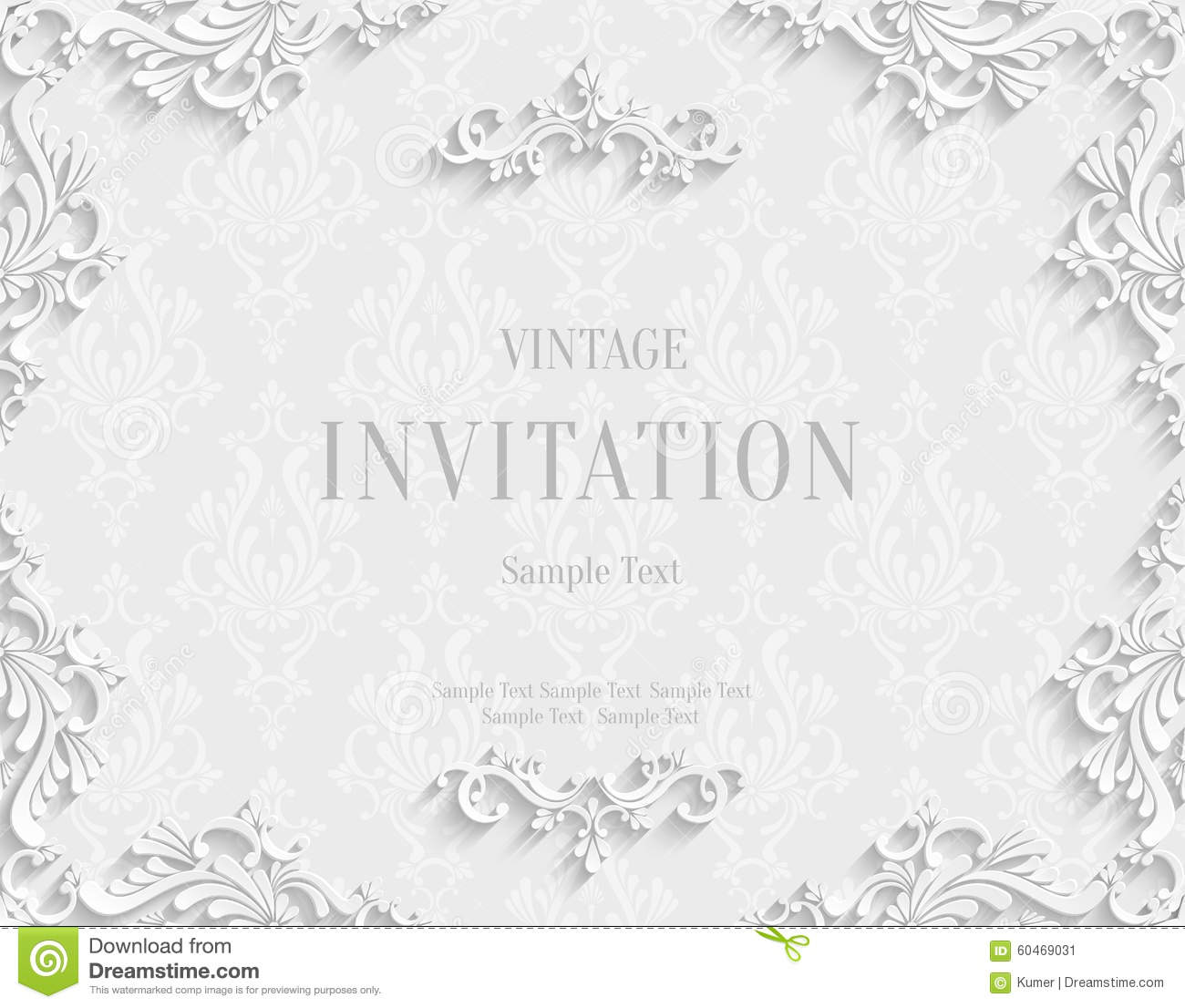 Vector White 3d Vintage Invitation Card With Floral Damask