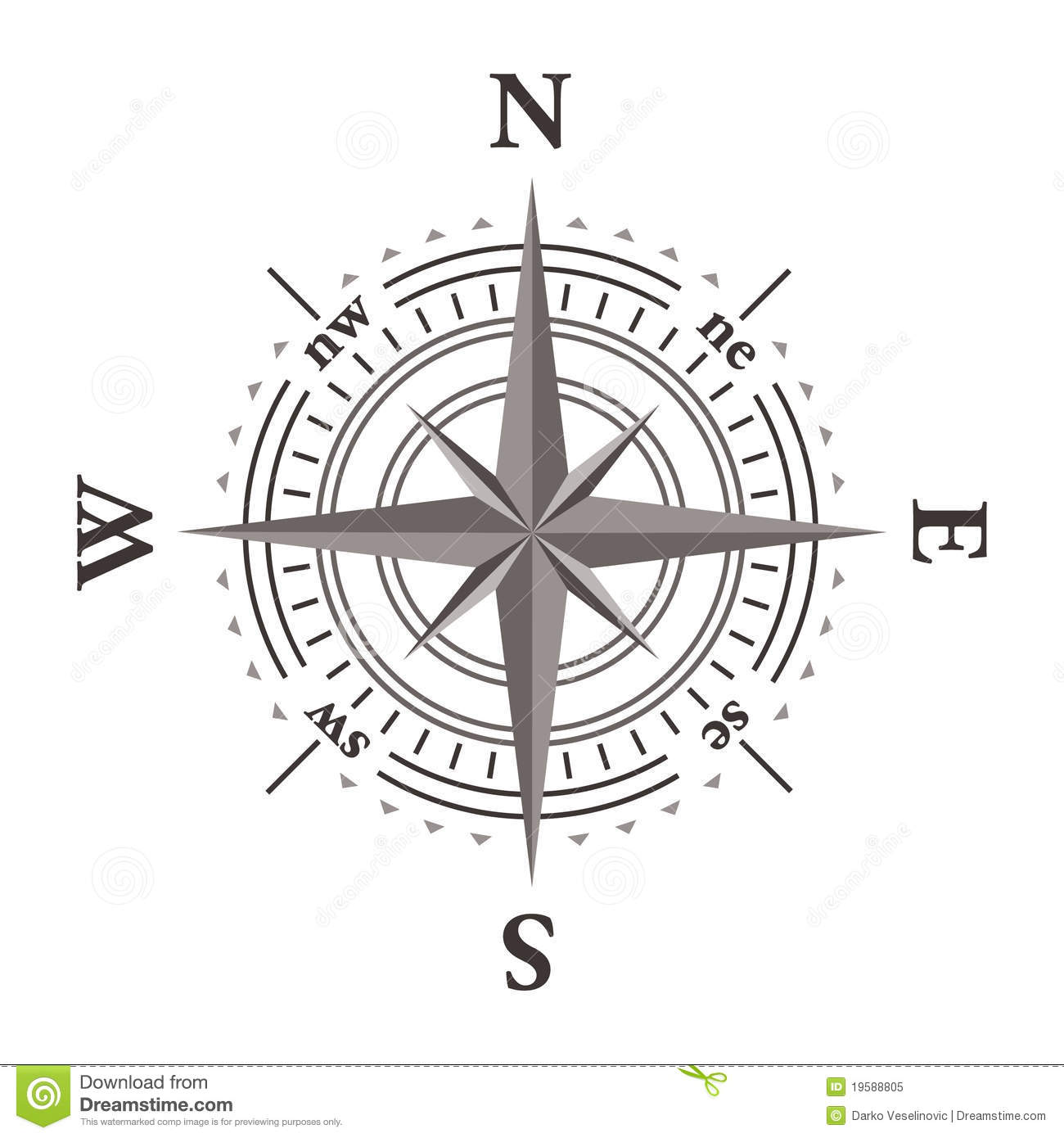 Vector Wind Rose Compass Royalty Free Stock Photo