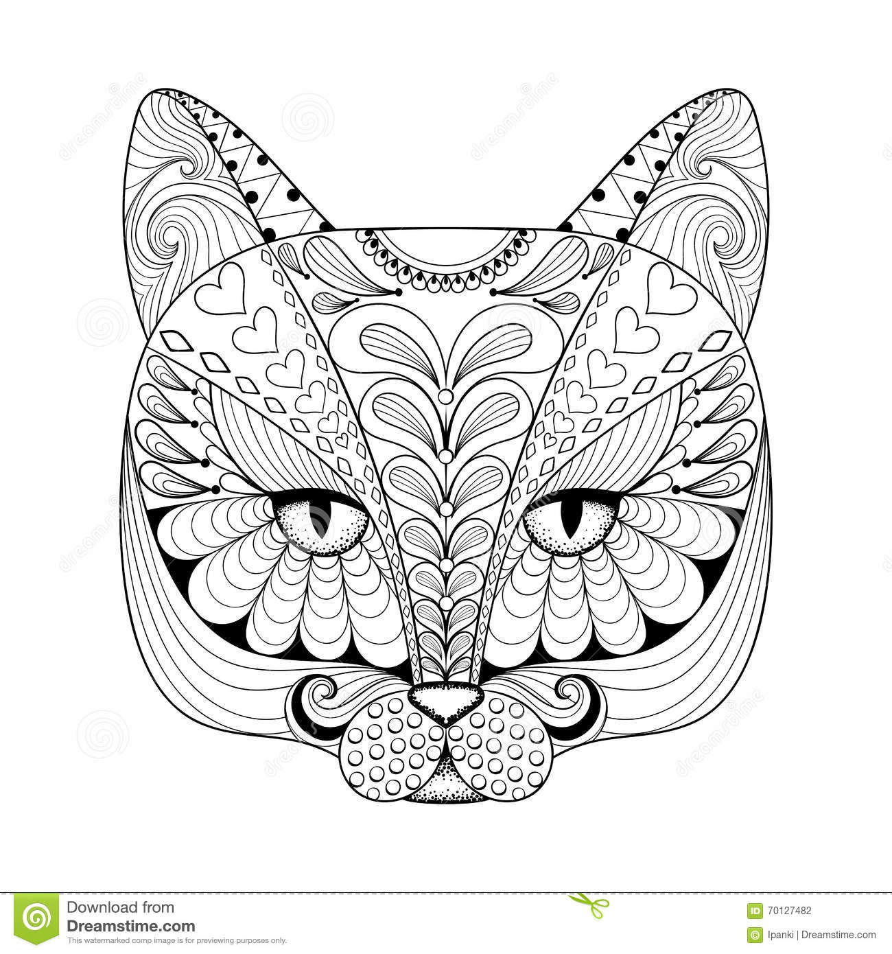 Vector Zentangle Cat Print For Adult Coloring Page Hand Drawn A Stock Vector
