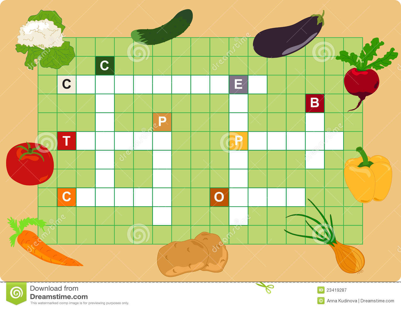 Vegetable Crossword Stock Vector Illustration Of Color