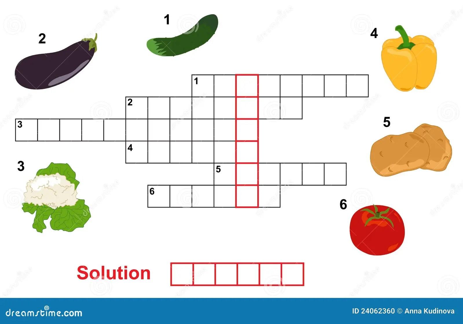 Vegetable Puzzle Crossword Stock Vector