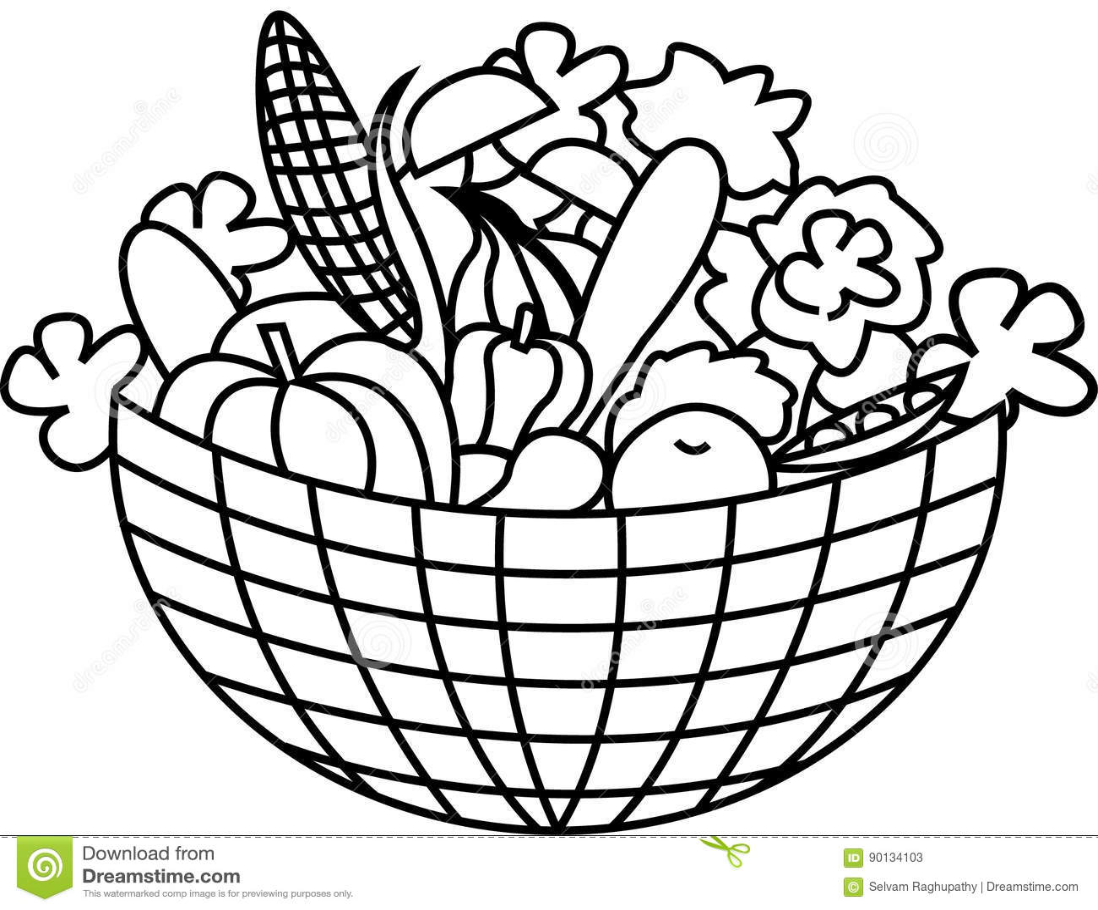 Vegetables In A Basket Stock Vector Illustration Of