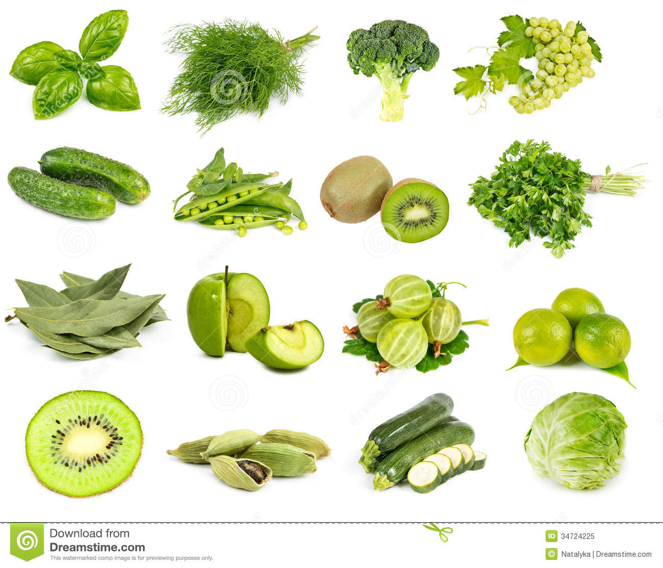 Vegetables Fruits And Spices Green Color Royalty Free