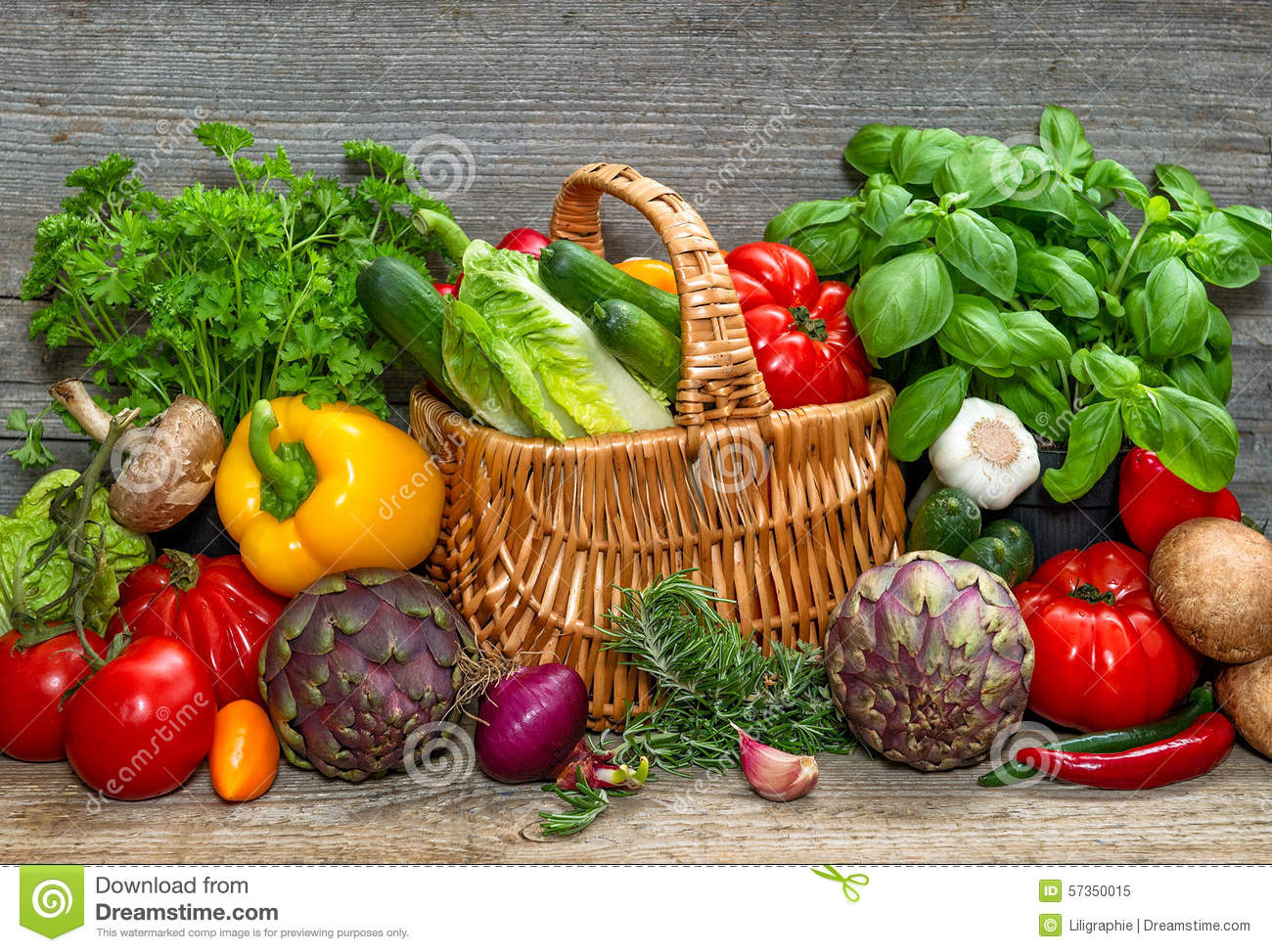 Vegetables And Herbs On Wooden Background Fresh Food