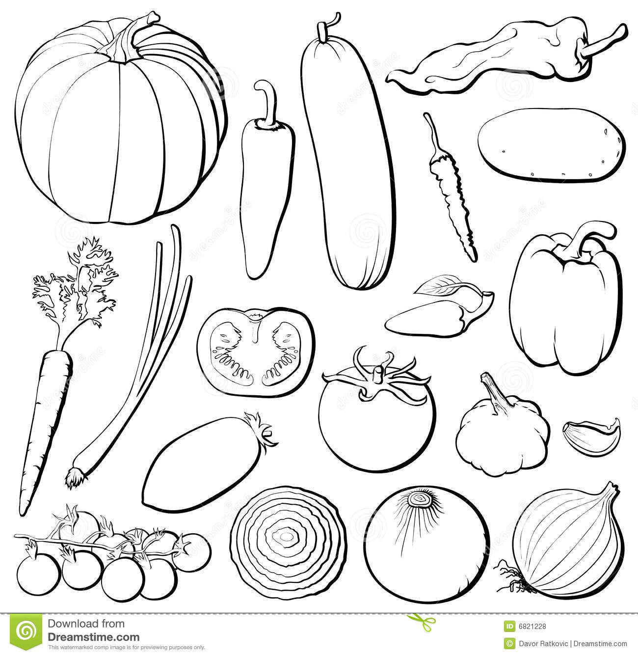 Vegetables Set B Amp W Royalty Free Stock Photos