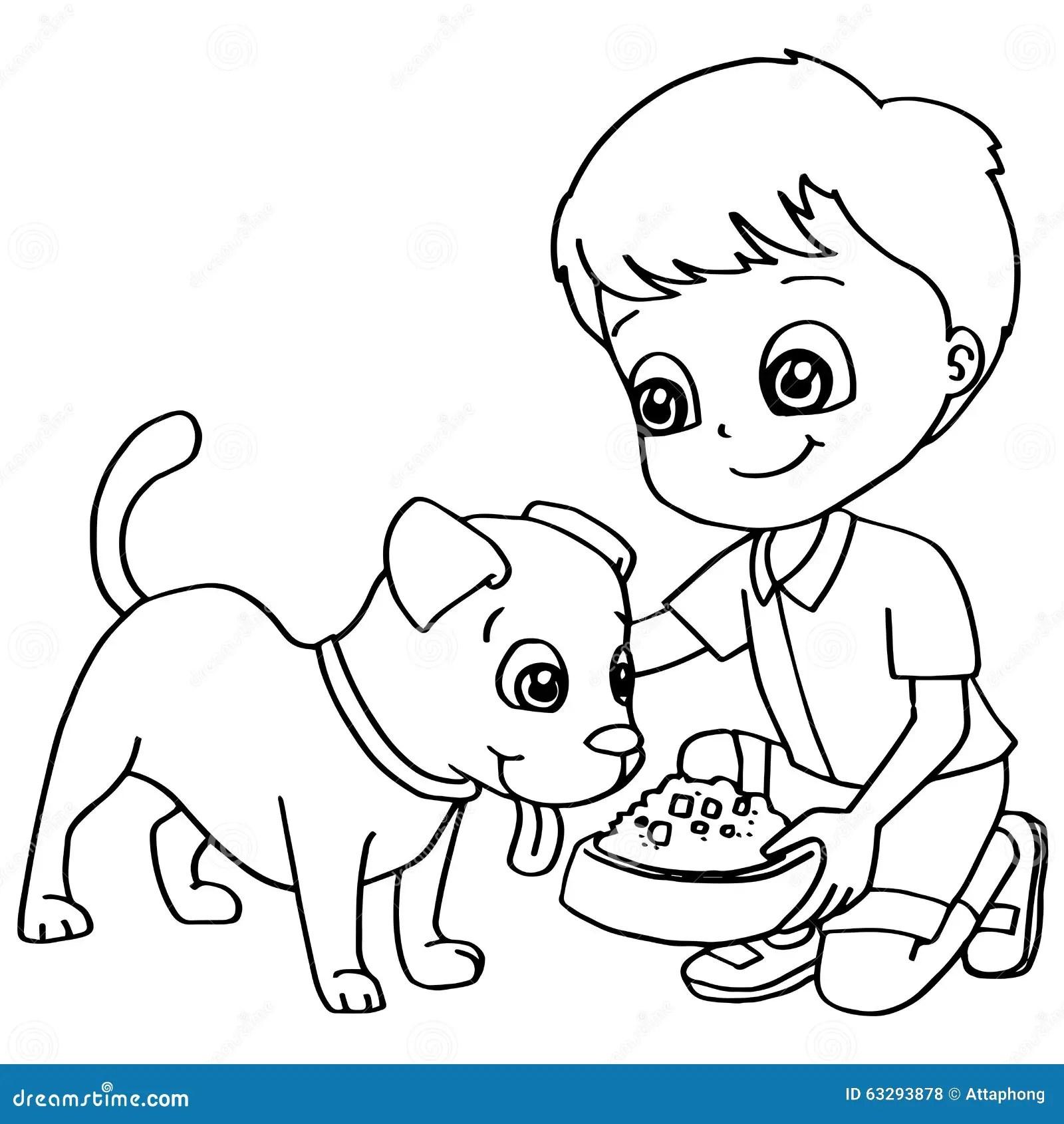 Vektor For Hund For Barn For Farglaggningbok Matande