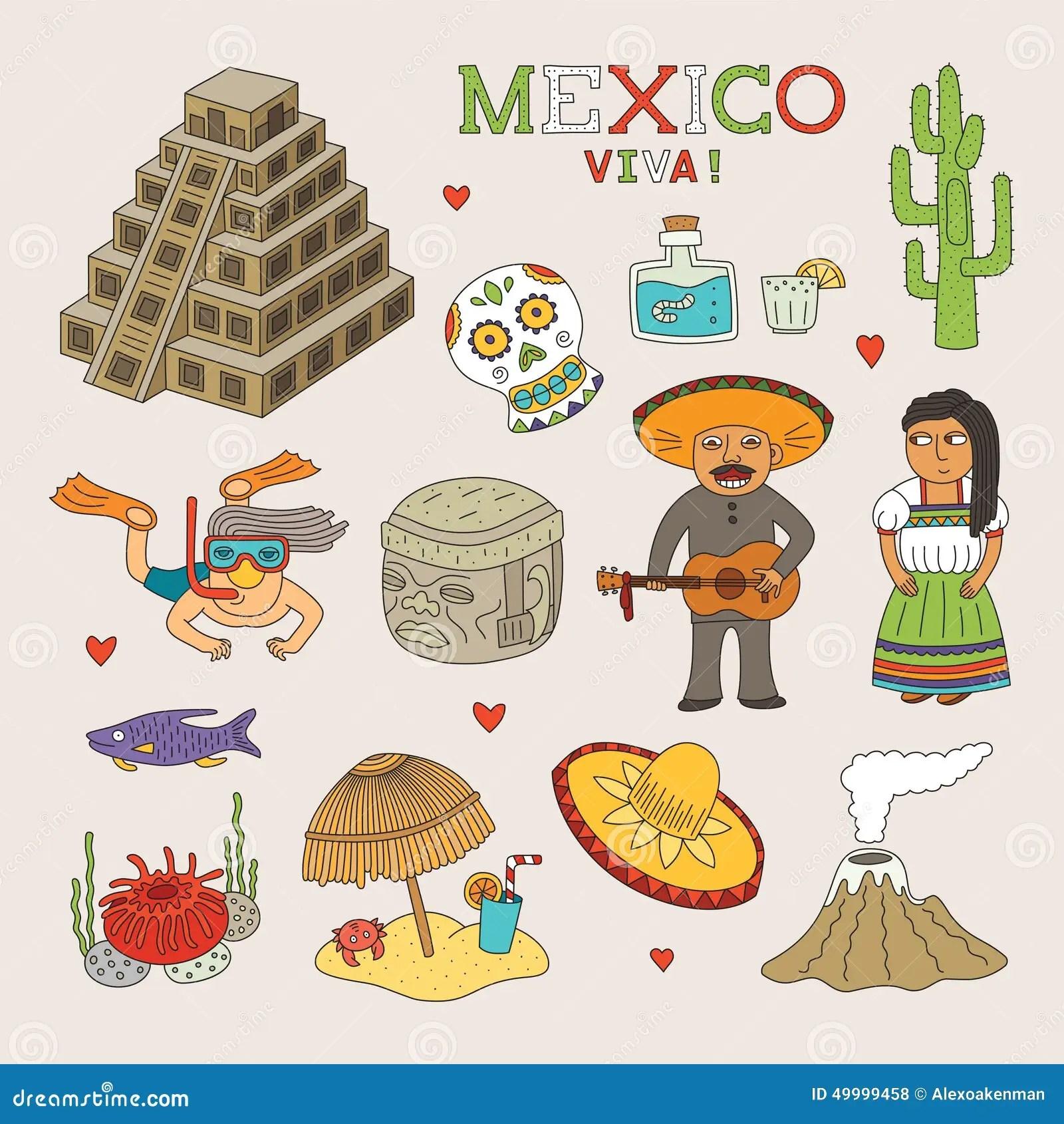 Vektor Mexiko Gekritzel Kunst Fr Reise Und Tourismus
