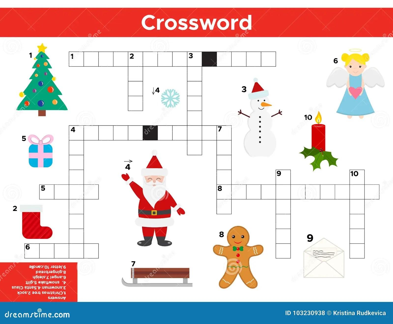 Vektor Weihnachten Neues Jahr Kreuzwortratsel Auf