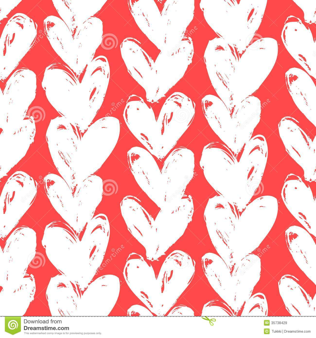 Velentine S Day Pattern With Hand Painted Hearts Stock