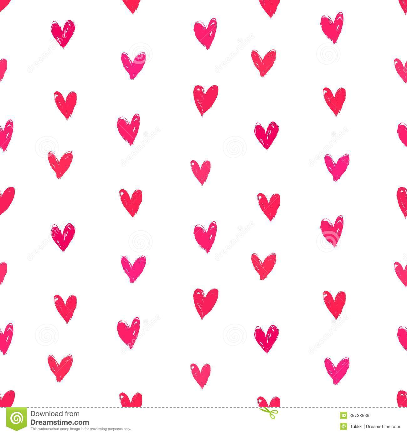 Velentine S Day Pattern With Hand Painted Hearts Royalty